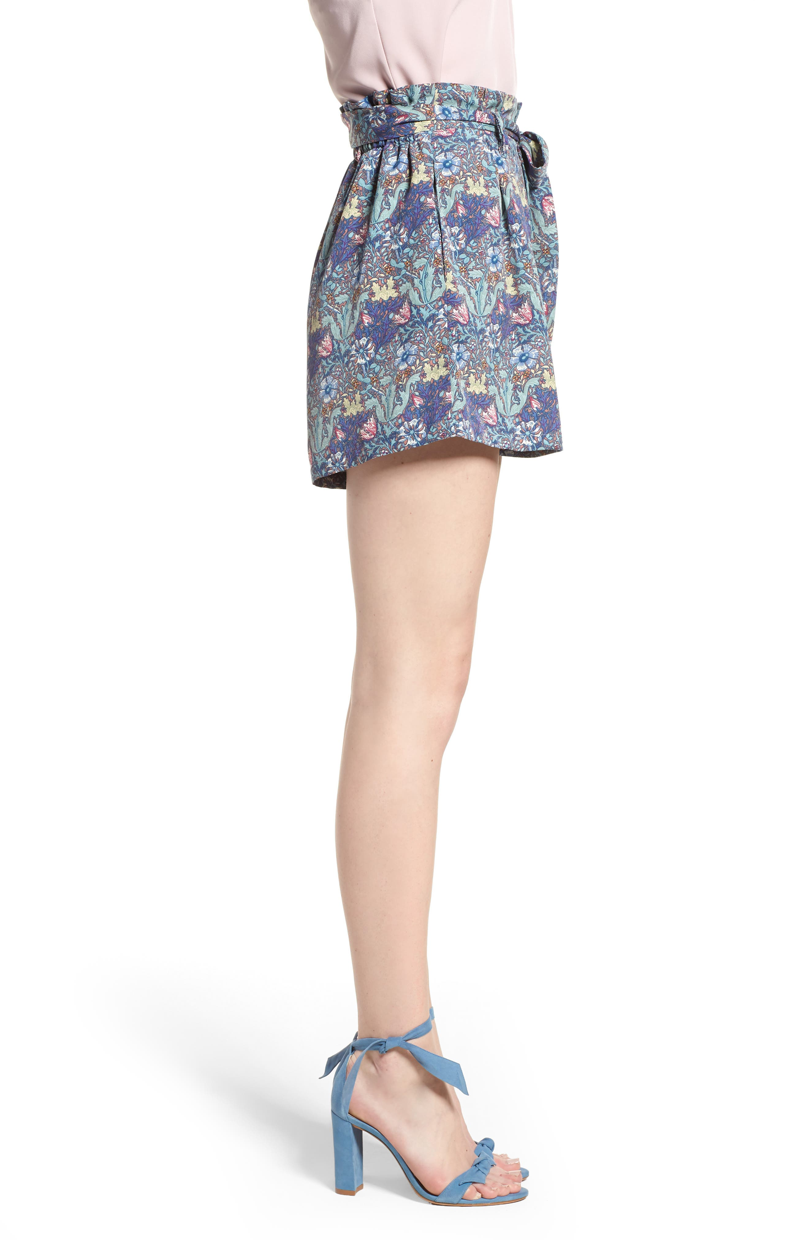 Bishop + Young Floral Paperbag Shorts,                             Alternate thumbnail 3, color,                             Print