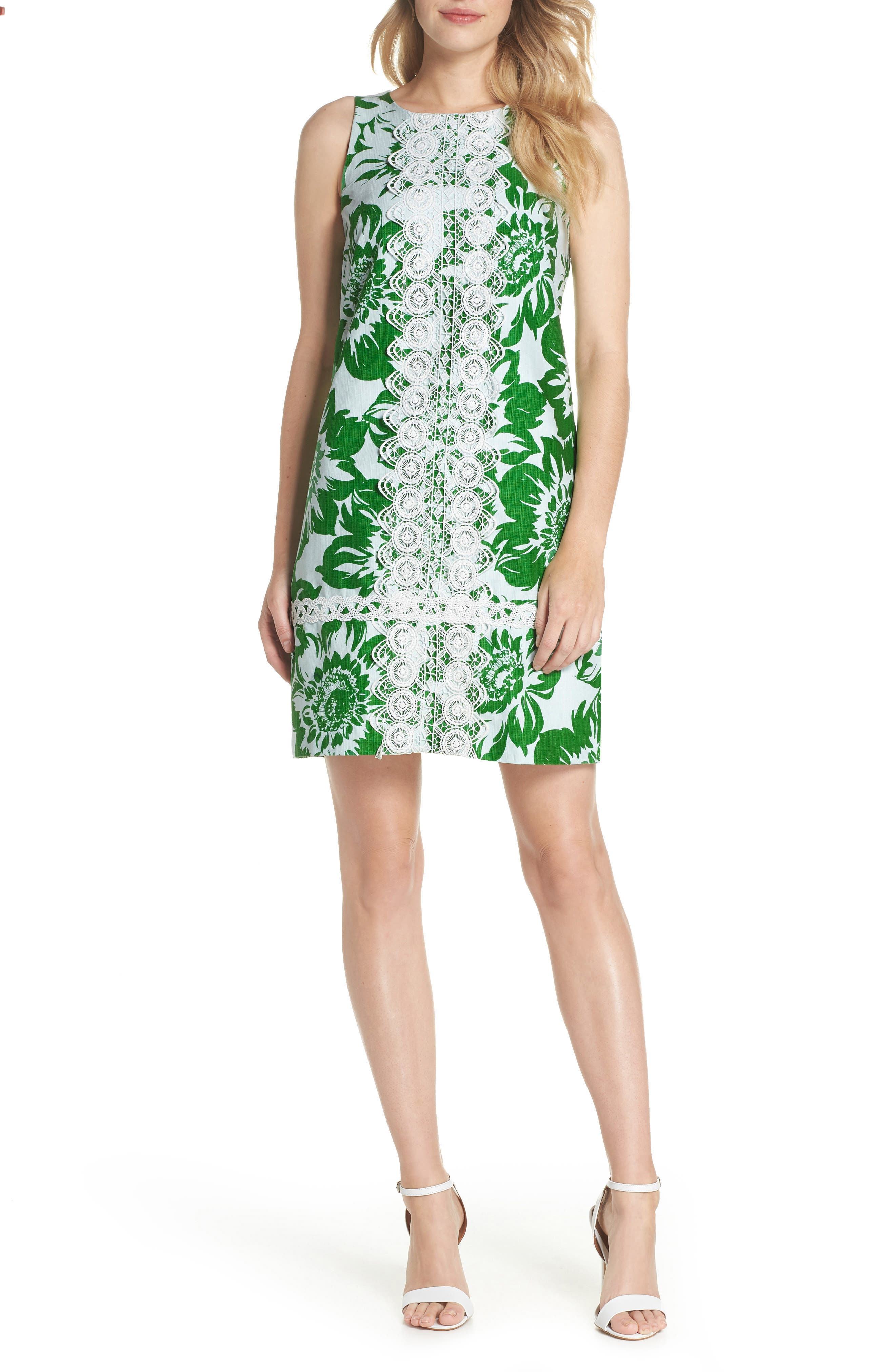 Sleeveless Stretch Cotton Shift Dress,                         Main,                         color, Green
