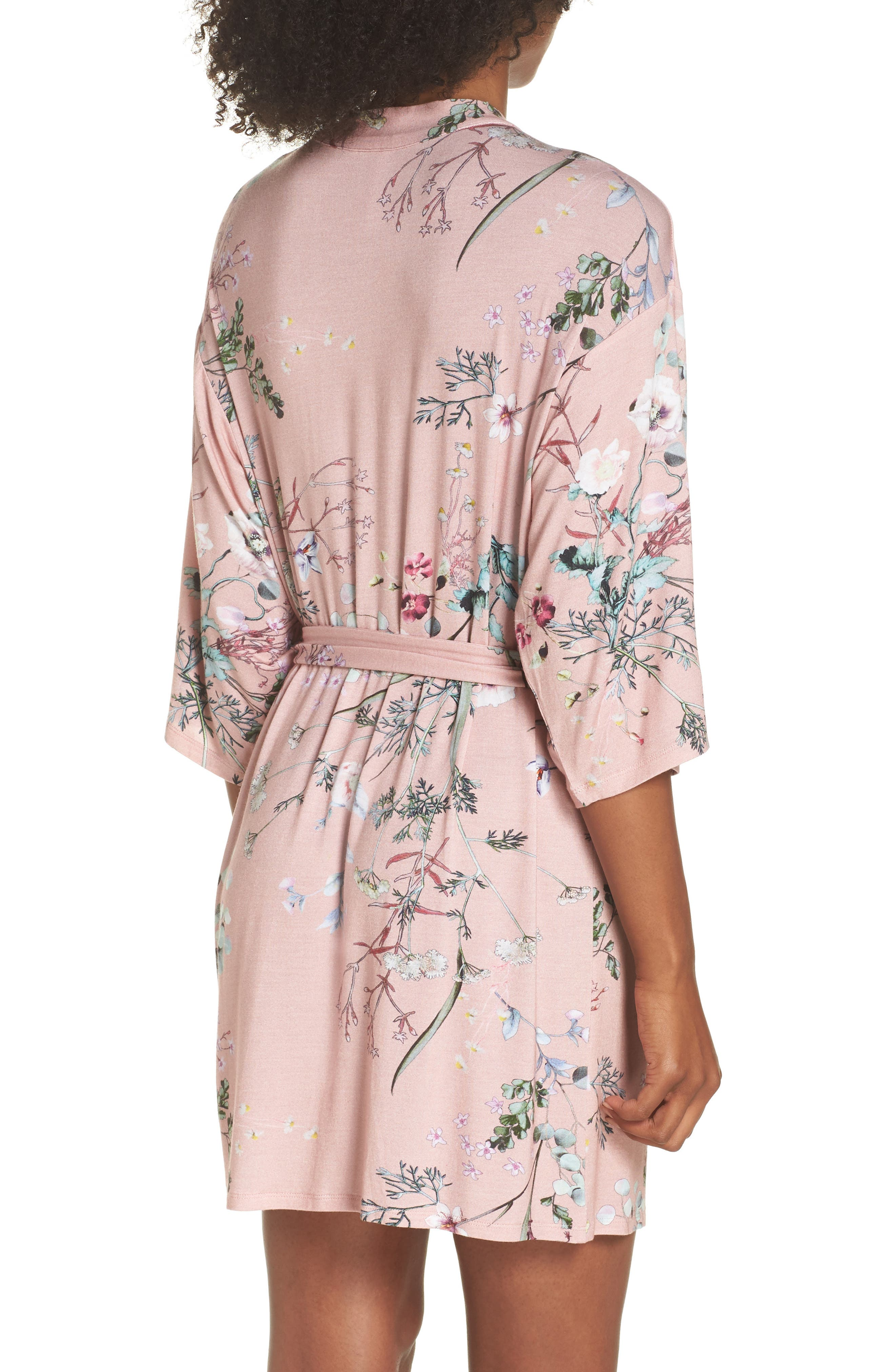 Floral Print Robe,                             Alternate thumbnail 2, color,                             Terra Cota