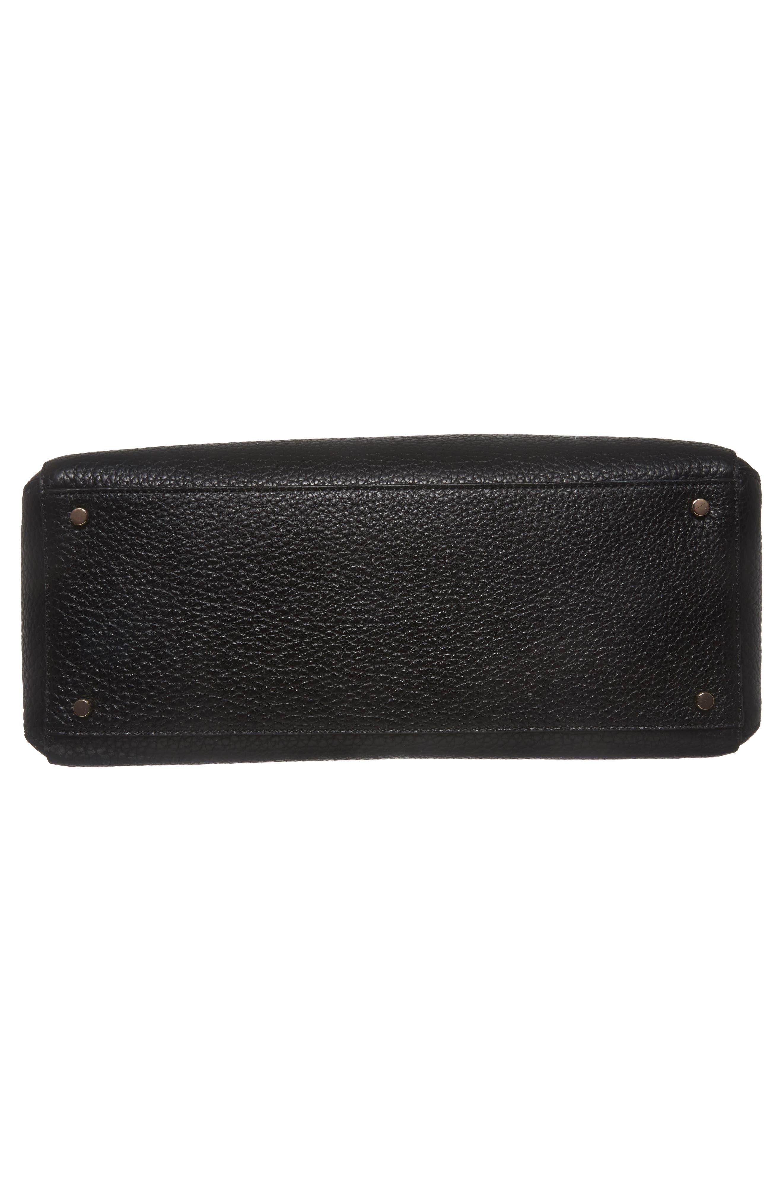 carter street - tyler leather tote,                             Alternate thumbnail 6, color,                             Black