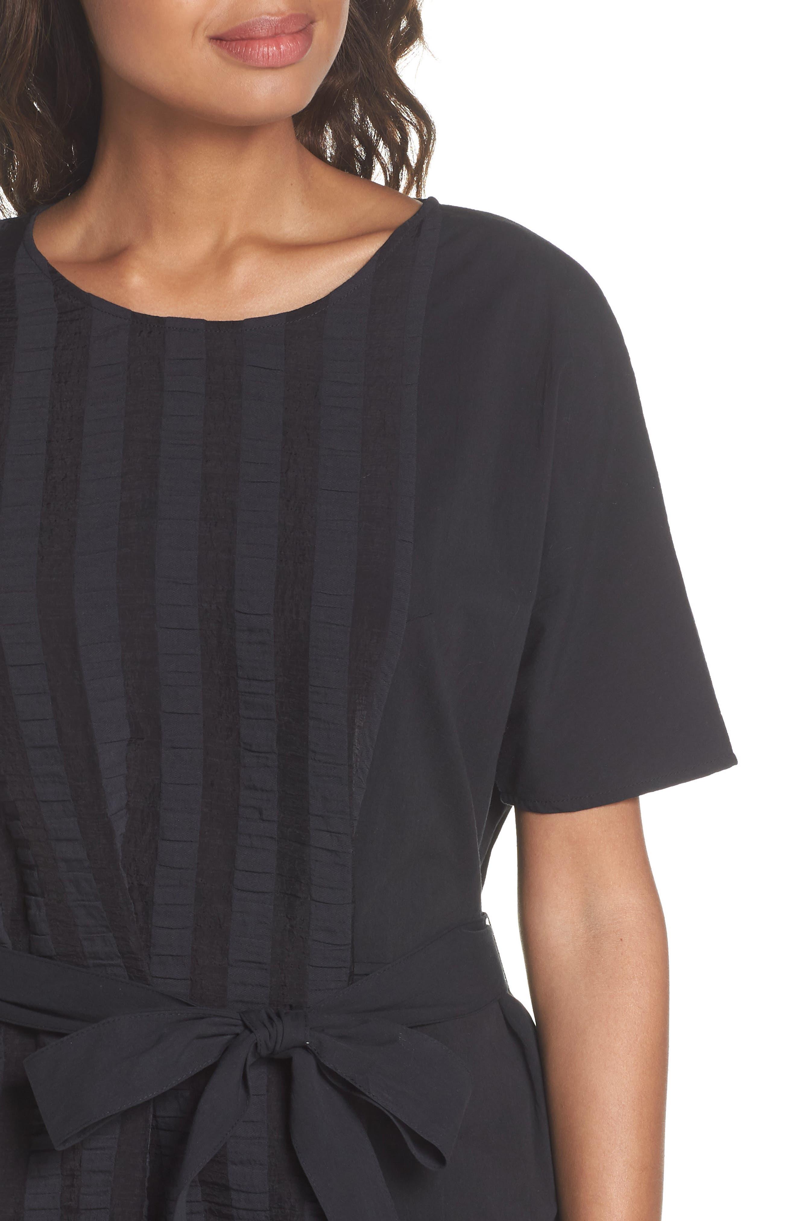 Throwing Shade Midi Dress,                             Alternate thumbnail 4, color,                             Black