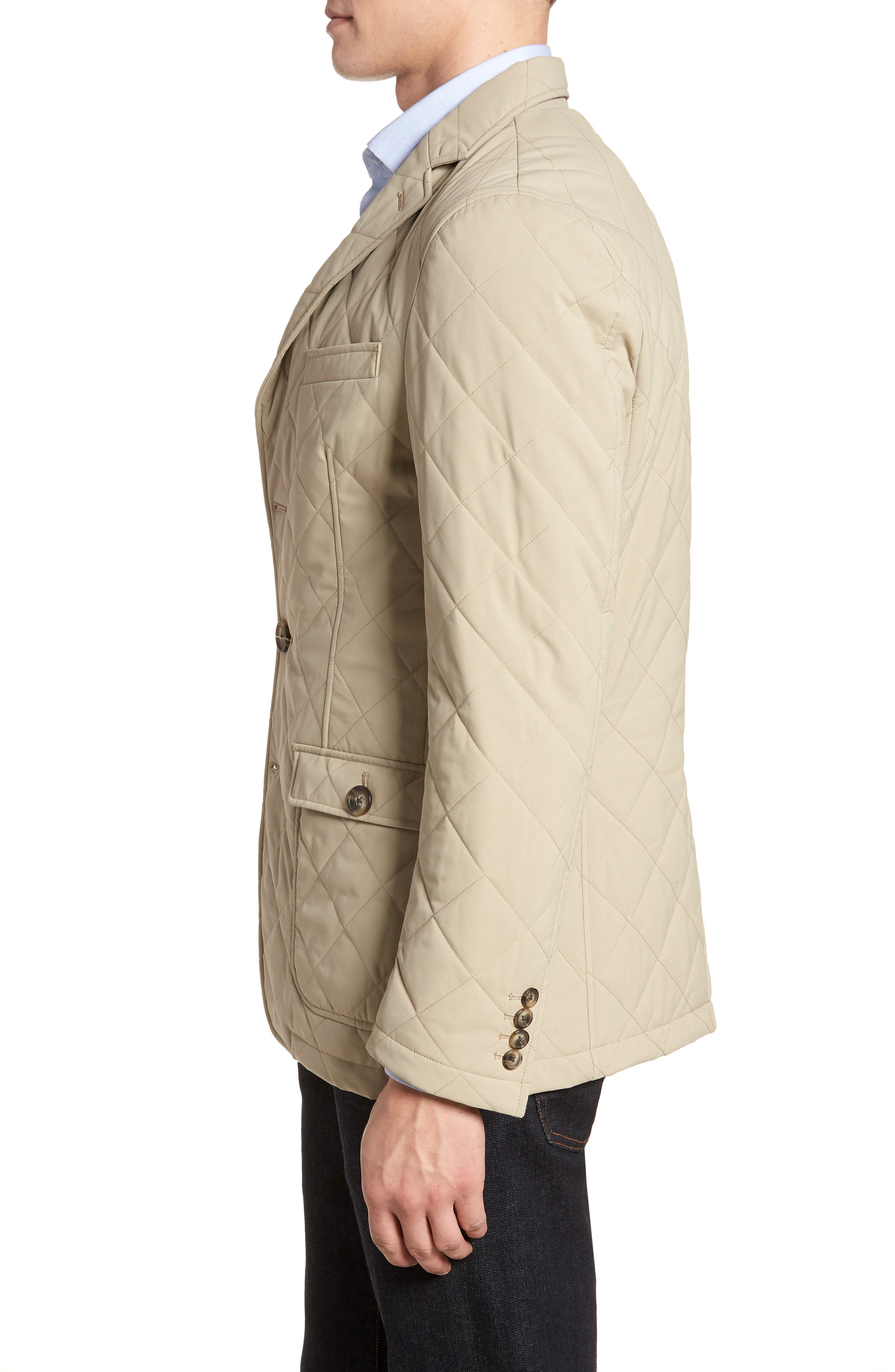 Classic Fit Quilted Blazer,                             Alternate thumbnail 3, color,                             Tan