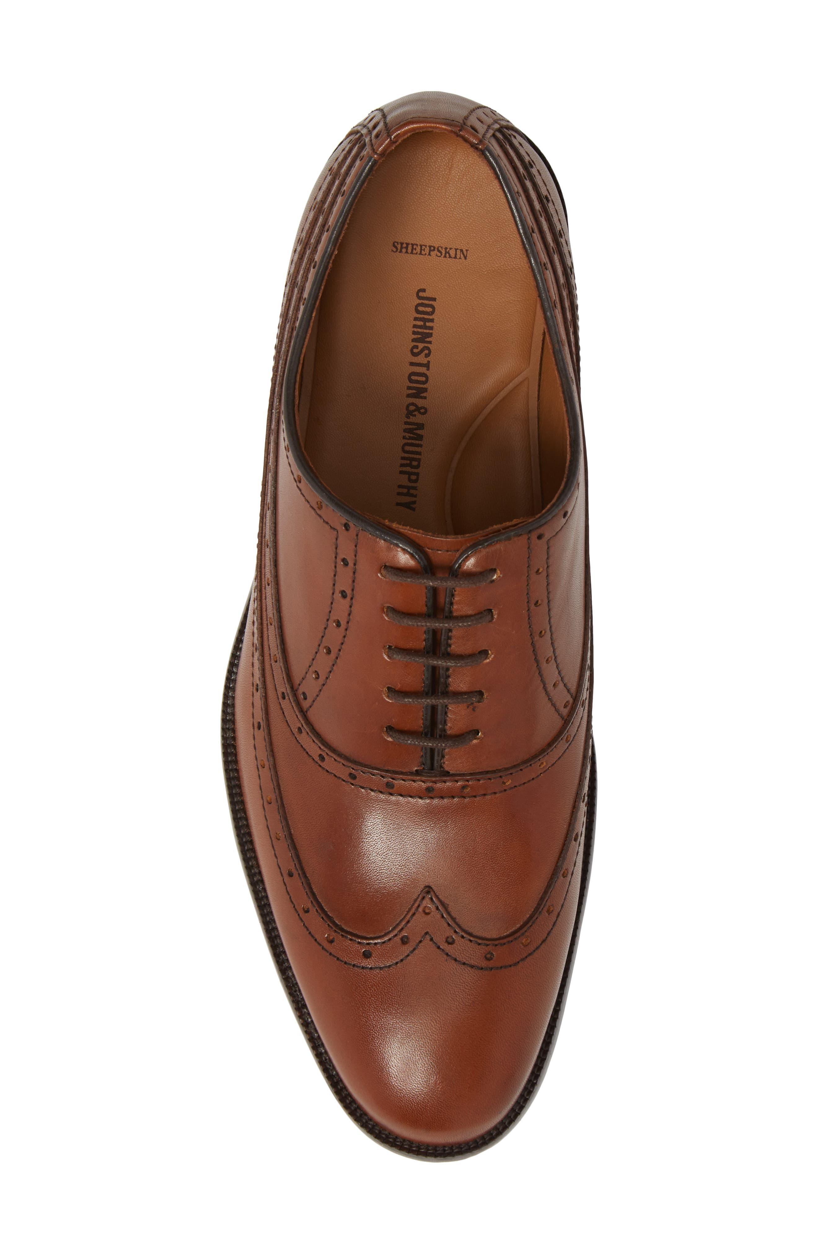 Bradford Wingtip Oxford,                             Alternate thumbnail 5, color,                             Tan Leather