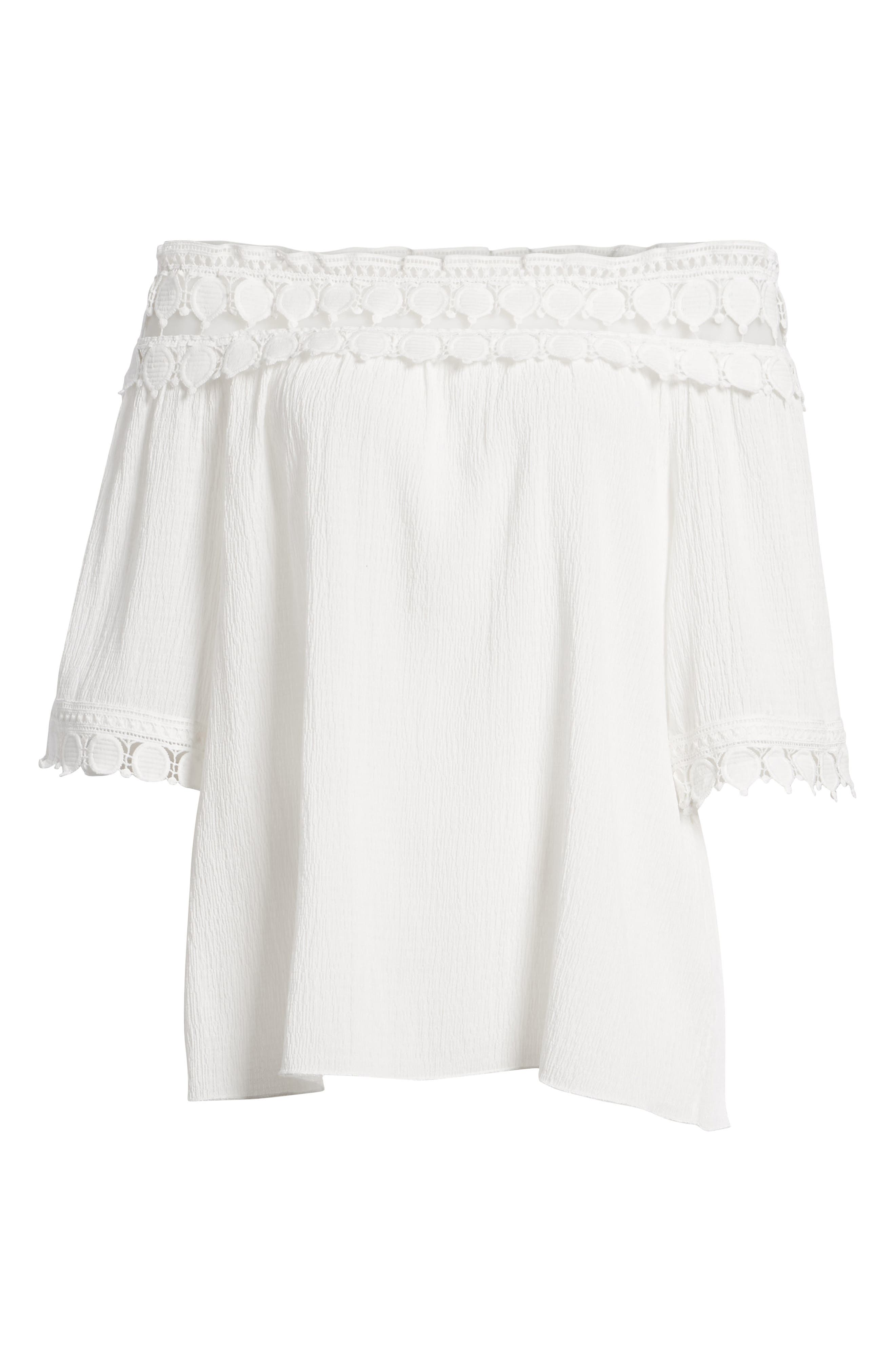Bishop + Young Olivia Crochet Trim Off the Shoulder Top,                             Alternate thumbnail 7, color,                             White