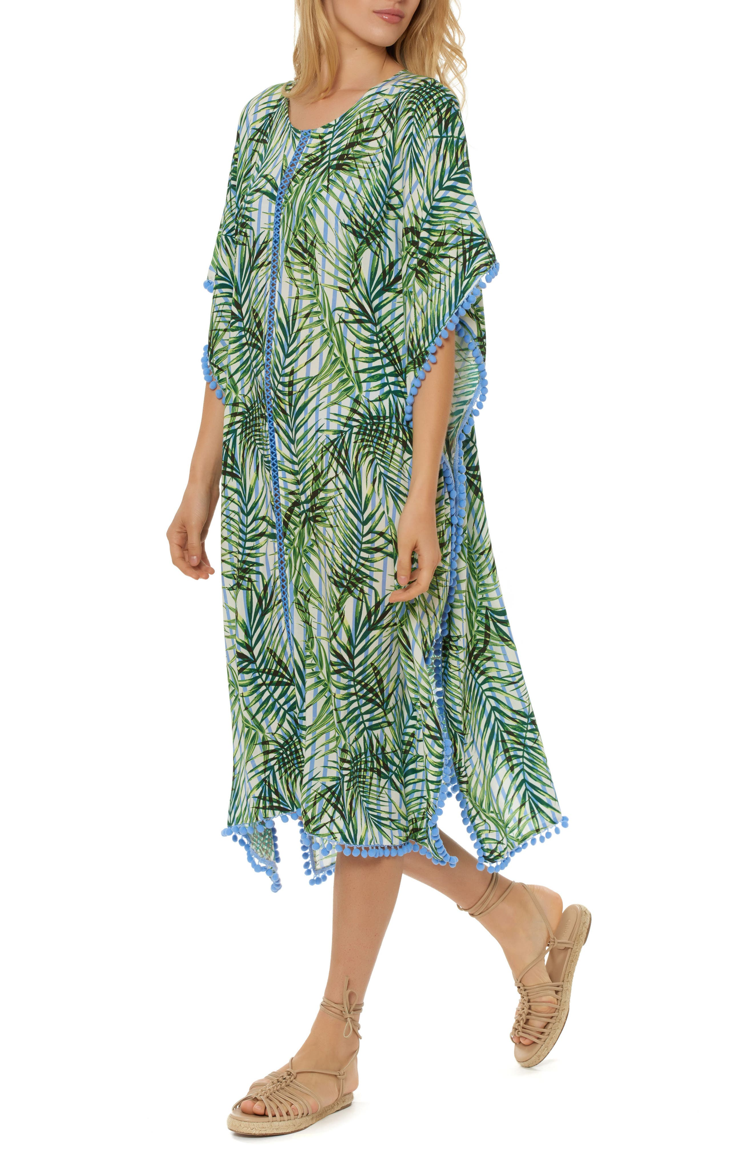 Pompom Cover-Up Caftan,                             Main thumbnail 1, color,                             Green Multi