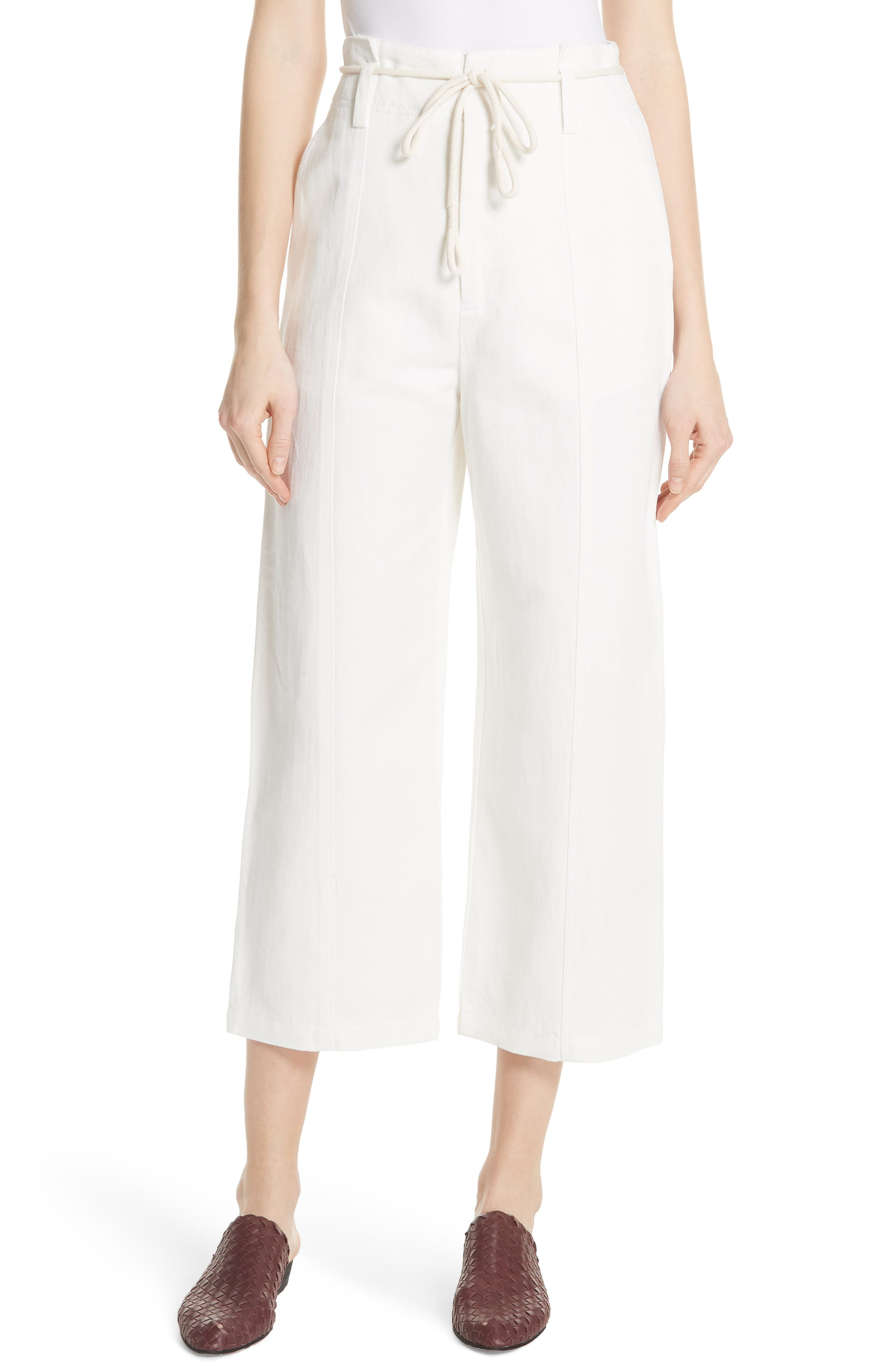 High Rise Linen Cotton Crop Pants,                             Main thumbnail 1, color,                             Off White