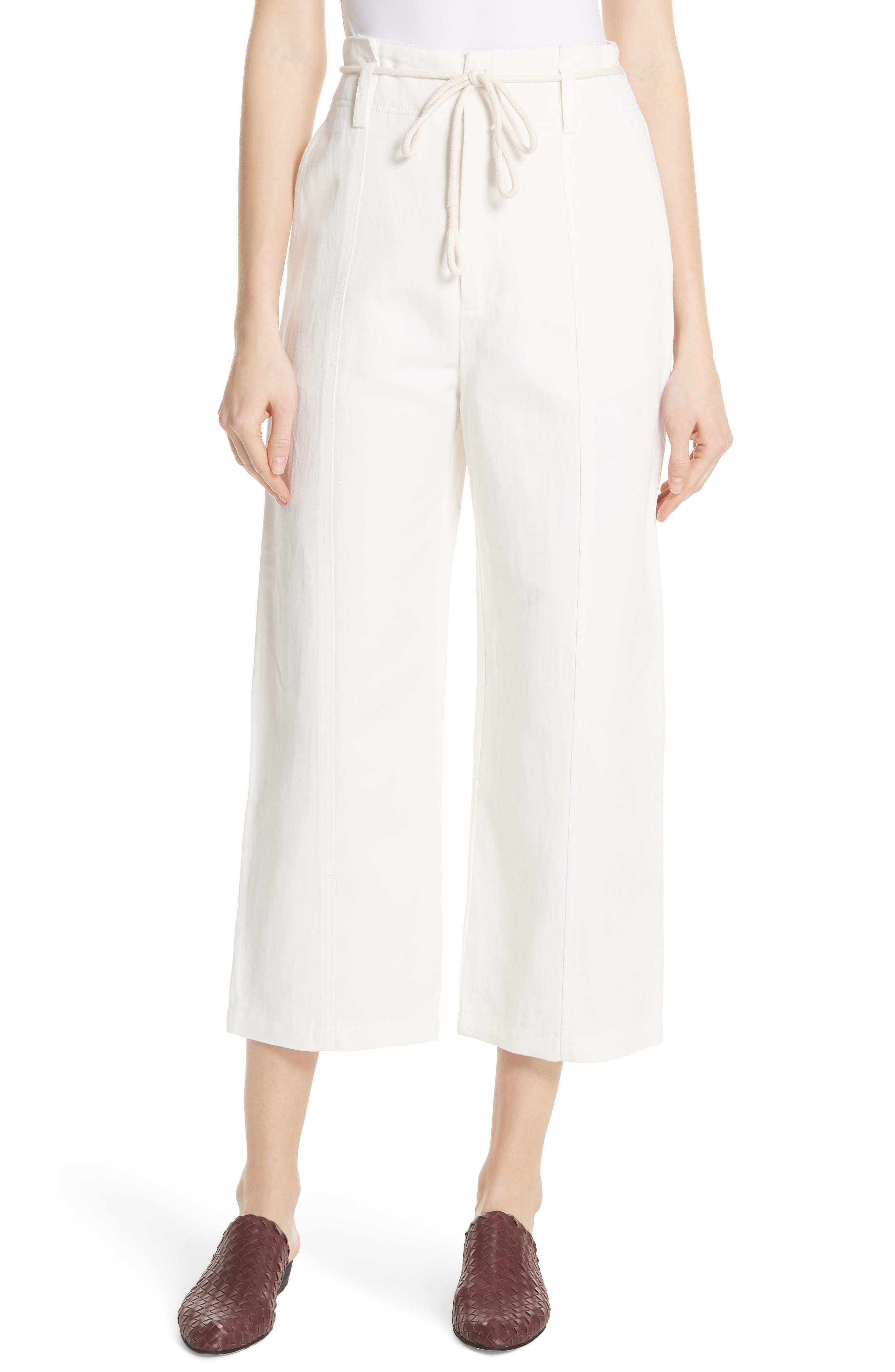 High Rise Linen Cotton Crop Pants,                         Main,                         color, Off White