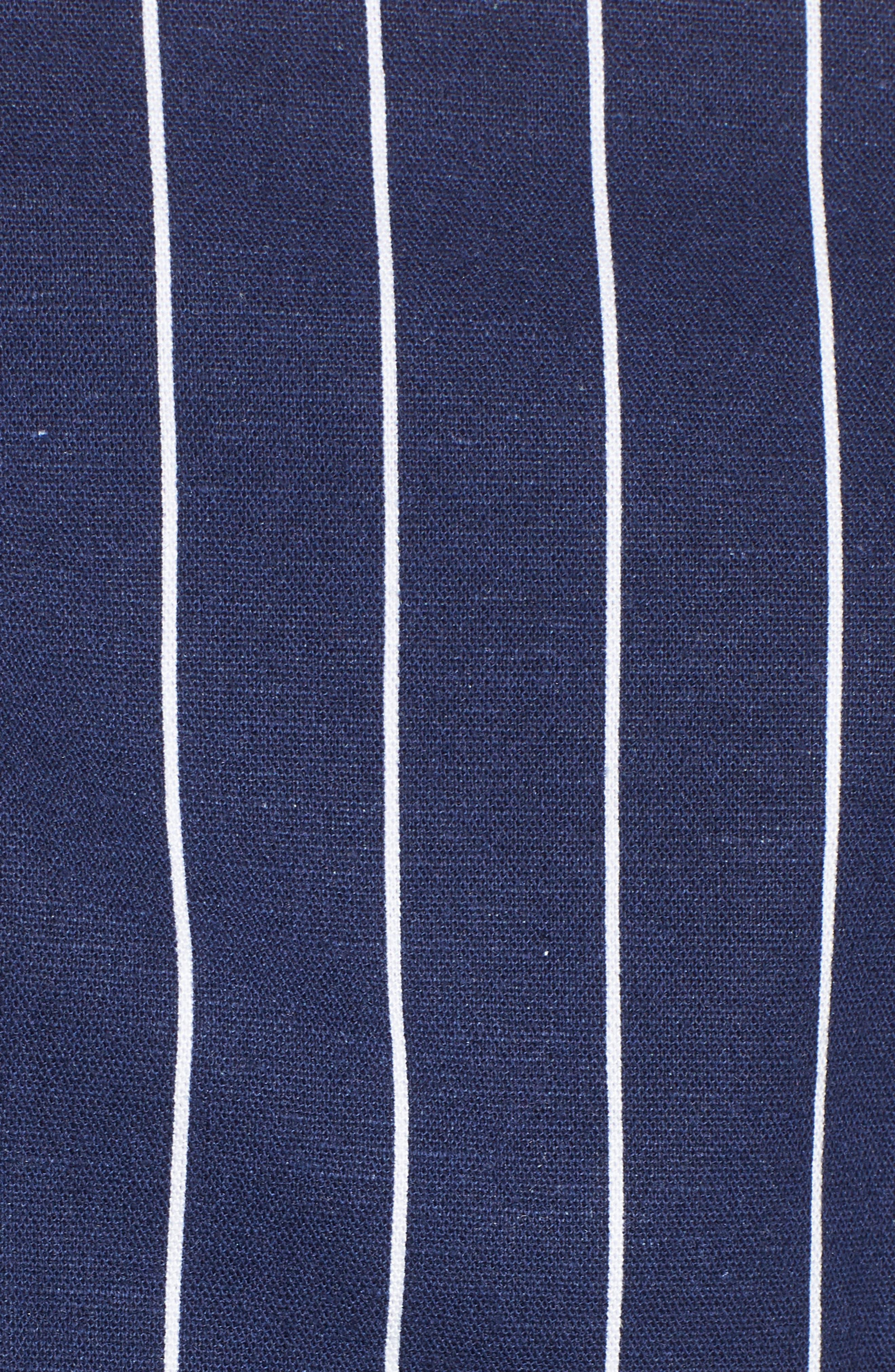 Kean Wrap Crop Top,                             Alternate thumbnail 6, color,                             Navy Stripe