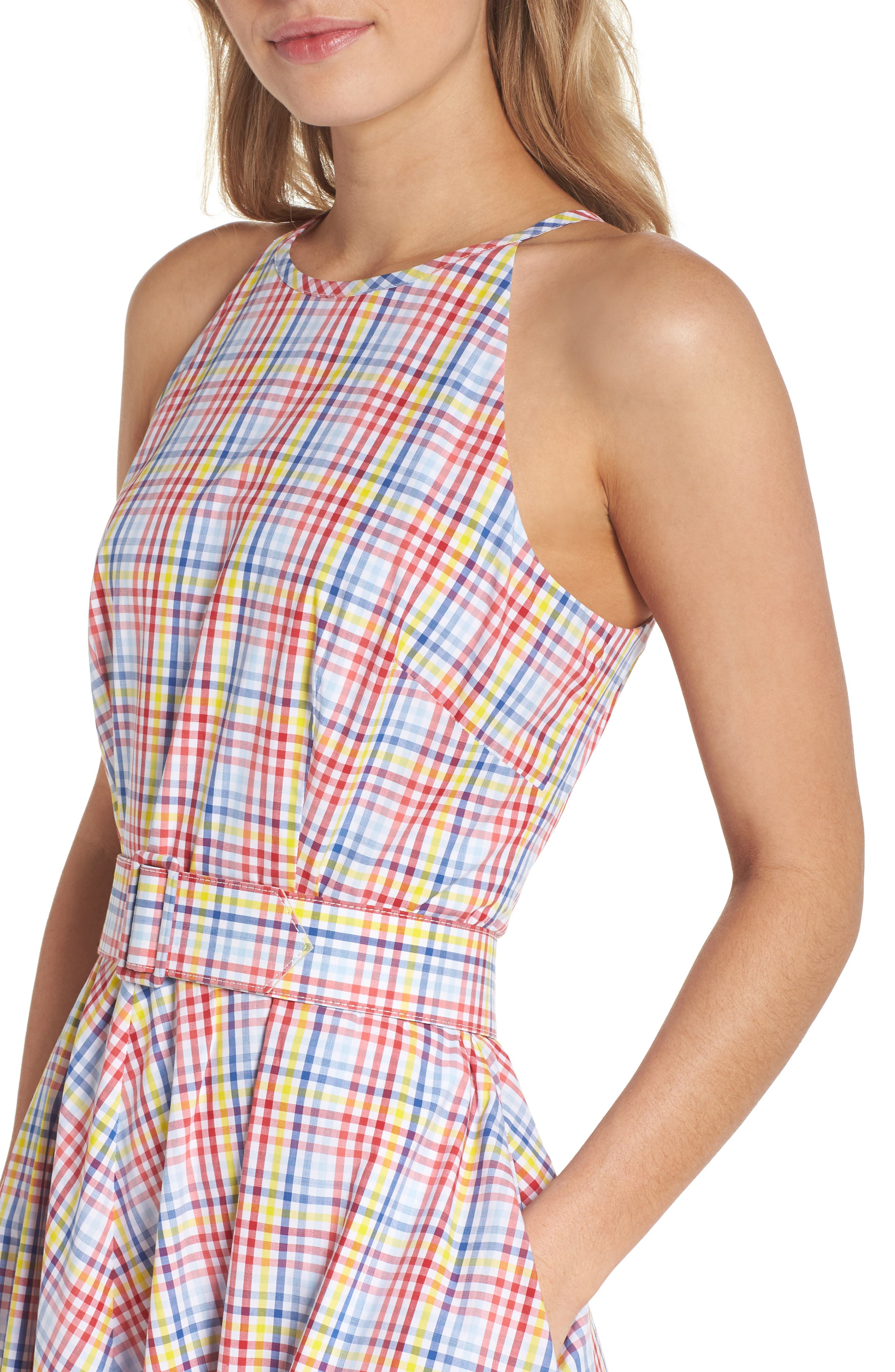 Halter Neck Belted Cotton Sundress,                             Alternate thumbnail 4, color,                             Red/ Yellow