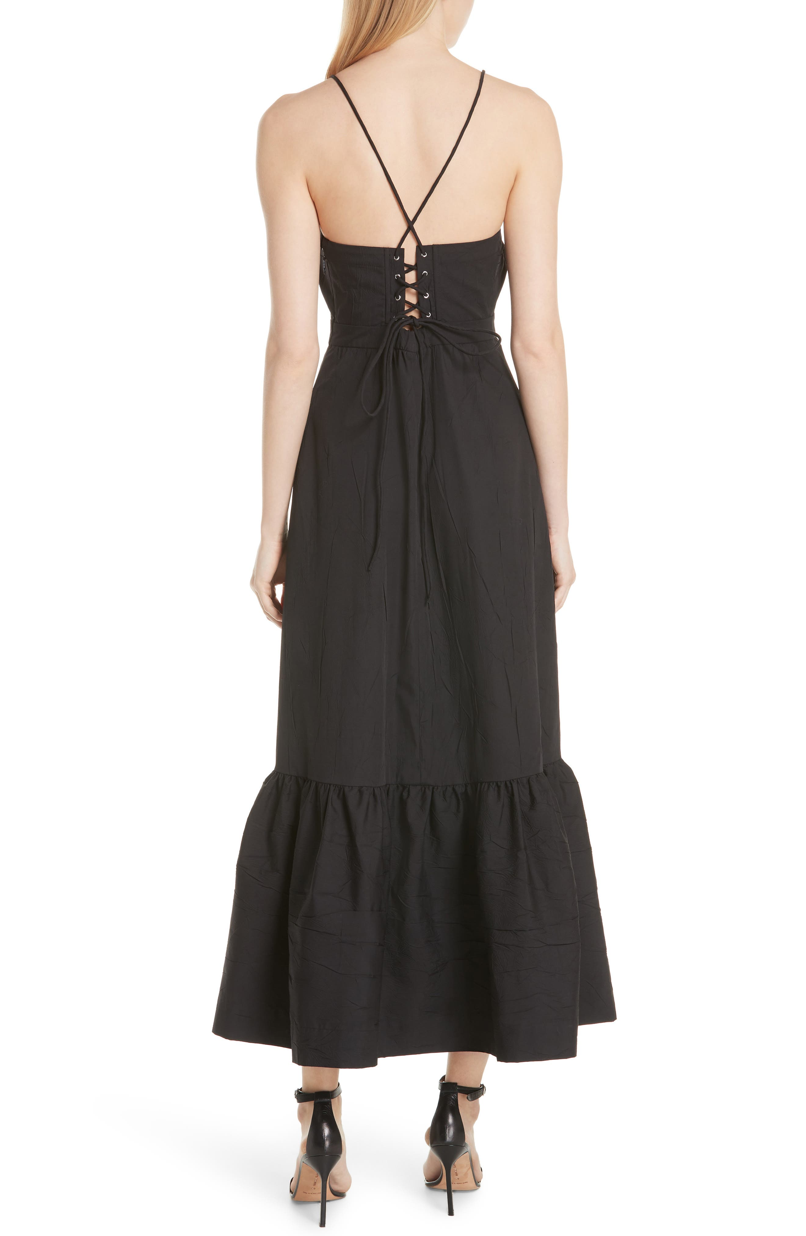 Tiered Halter Keyhole Dress,                             Alternate thumbnail 2, color,                             Black
