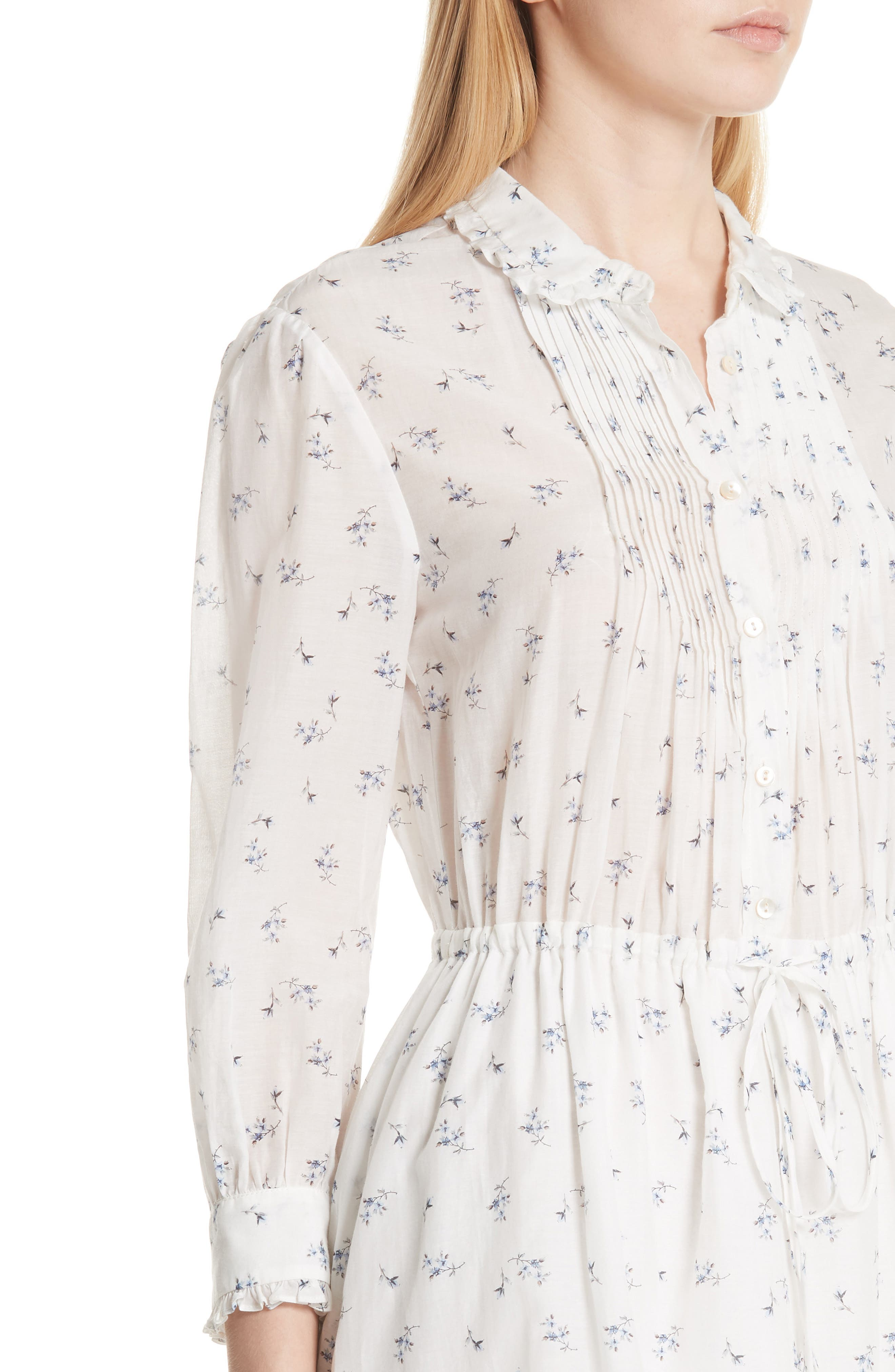 Floral Sprig Shirtdress,                             Alternate thumbnail 4, color,                             Snow Combo