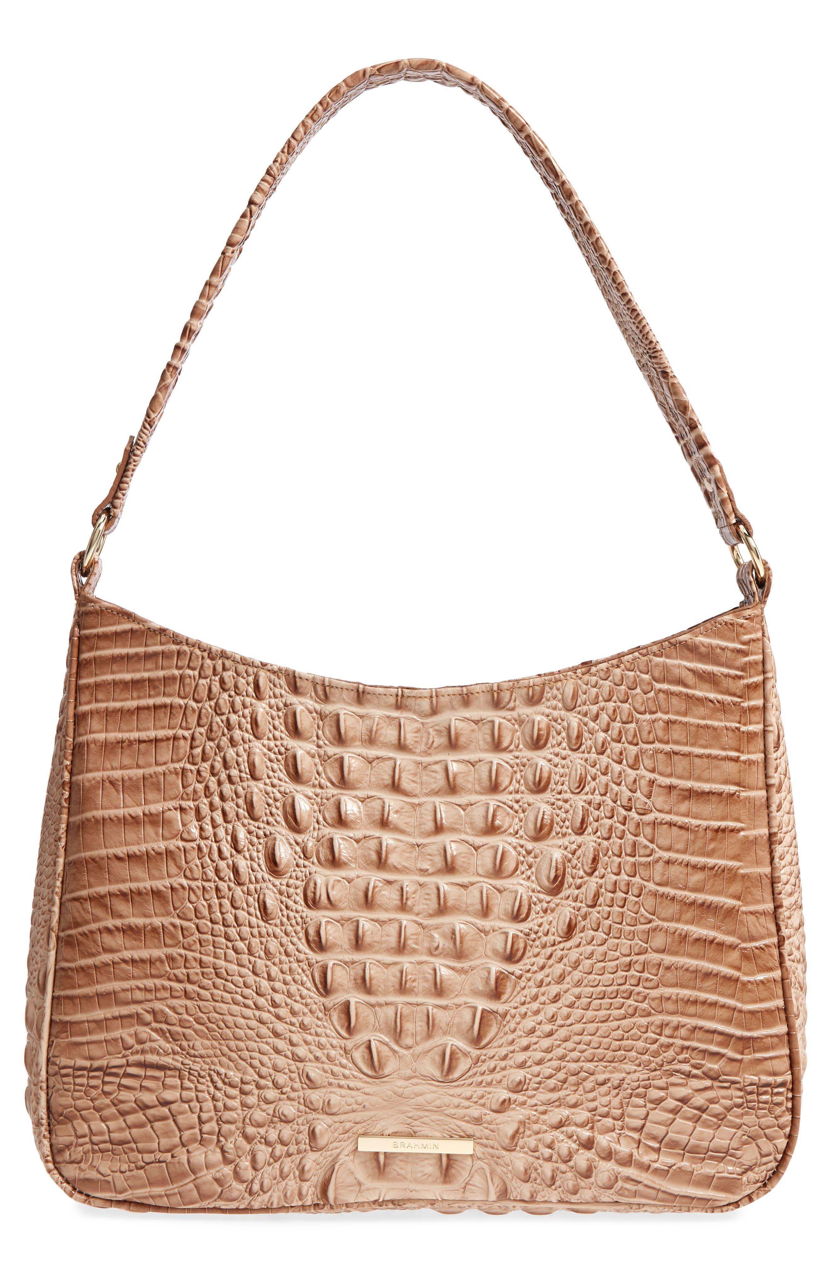 Nadia Croc Embossed Leather Shoulder Bag,                             Main thumbnail 1, color,                             Morel