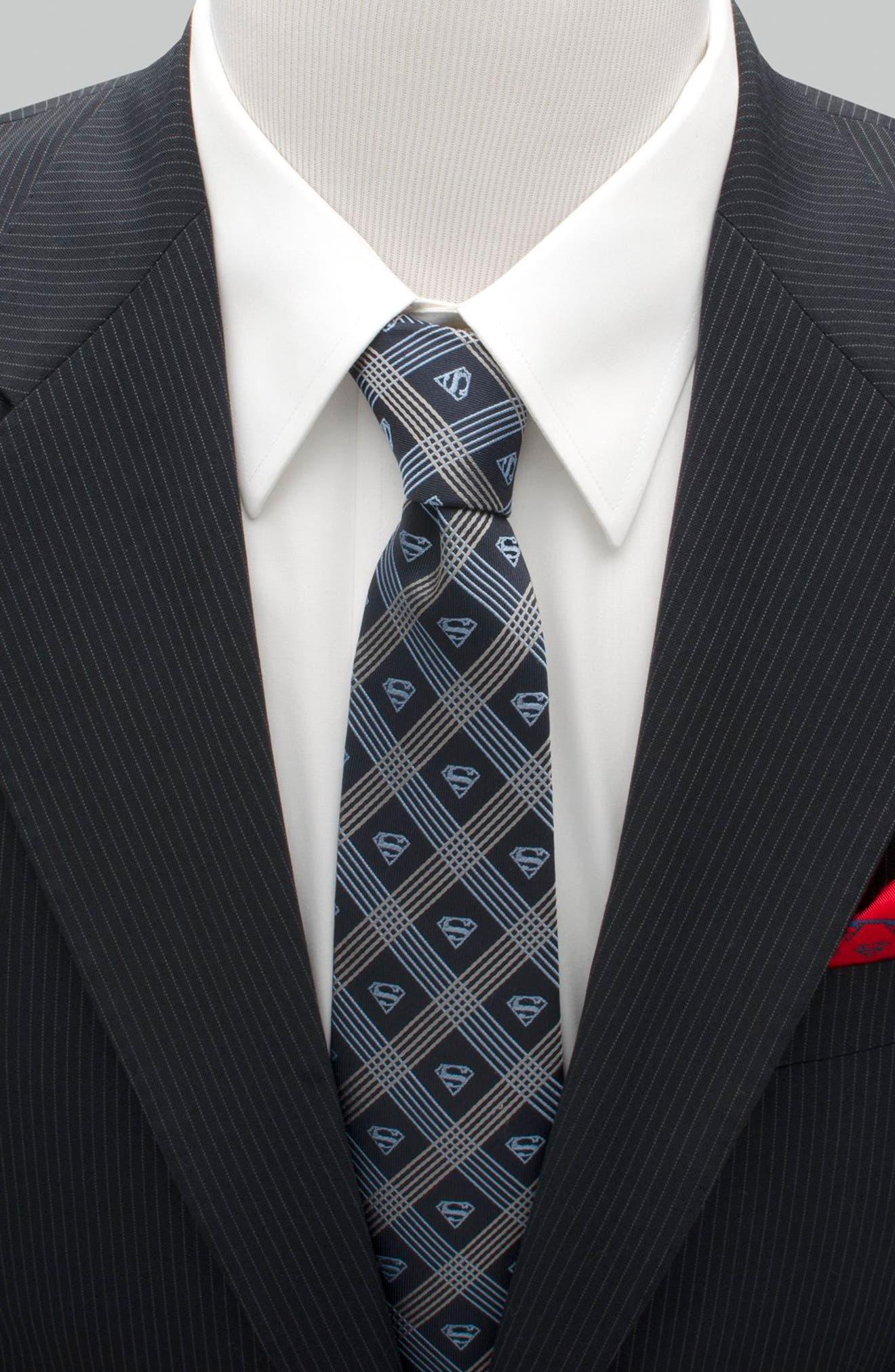 Superman Shield Silk Tie,                             Alternate thumbnail 2, color,                             Grey/ Navy