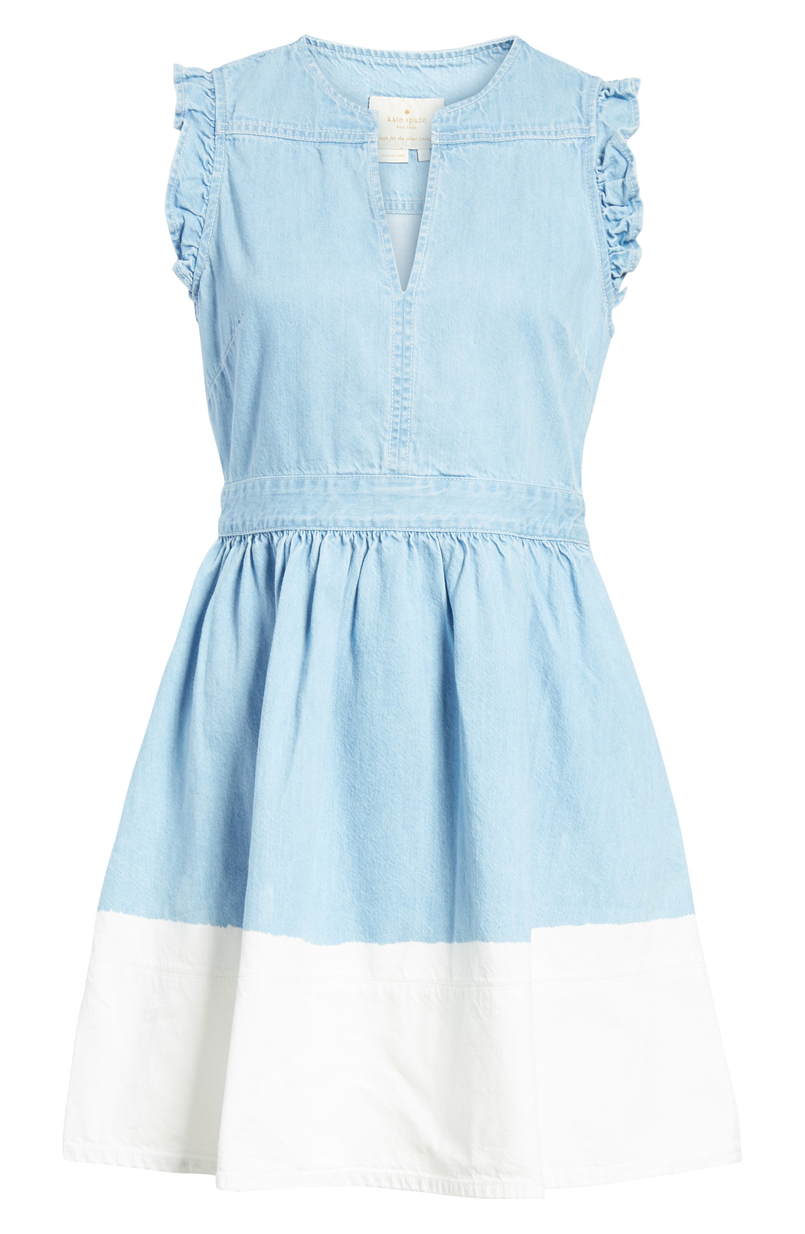 dip dye denim dress,                             Alternate thumbnail 6, color,                             Indigo