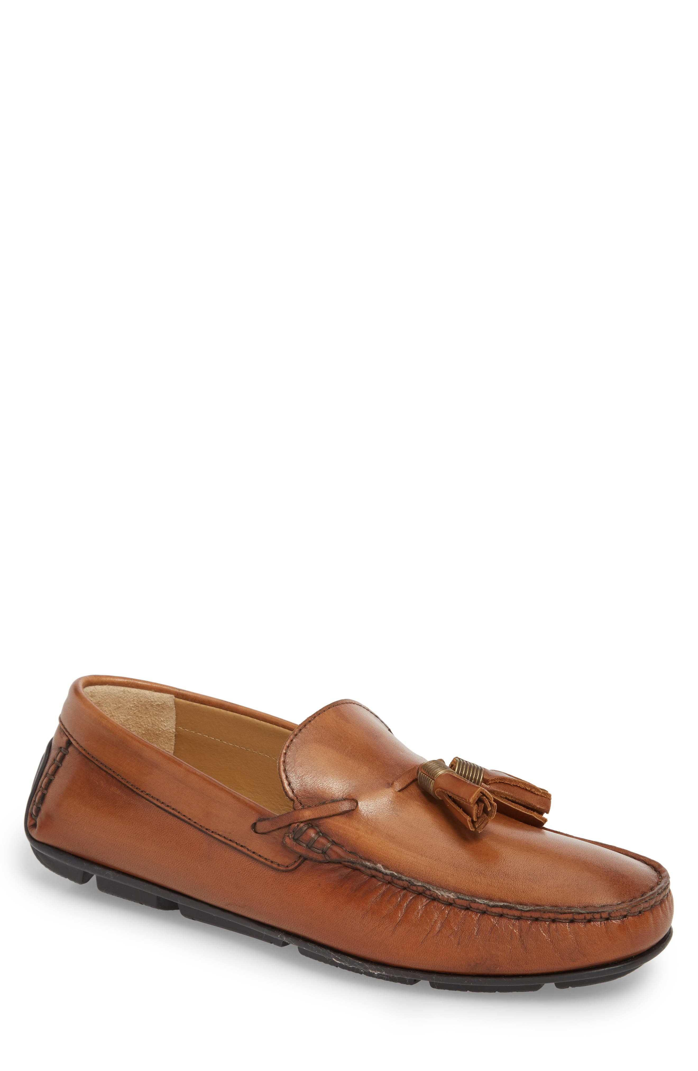 Randall Tassel Driving Moccasin,                         Main,                         color, Cognac Leather