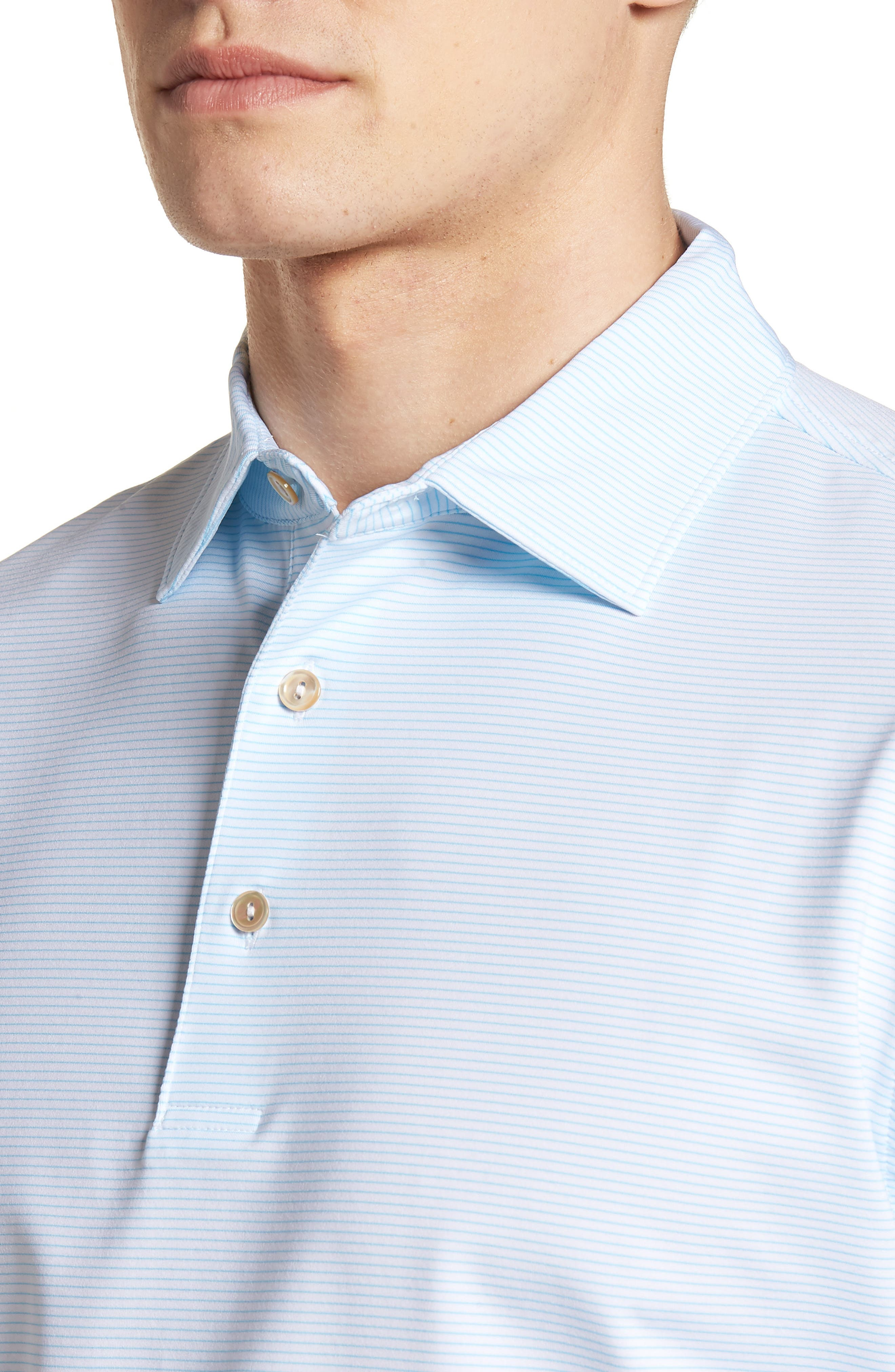 Halford Stripe Stretch Jersey Polo,                             Alternate thumbnail 4, color,                             White/ Grotto Blue