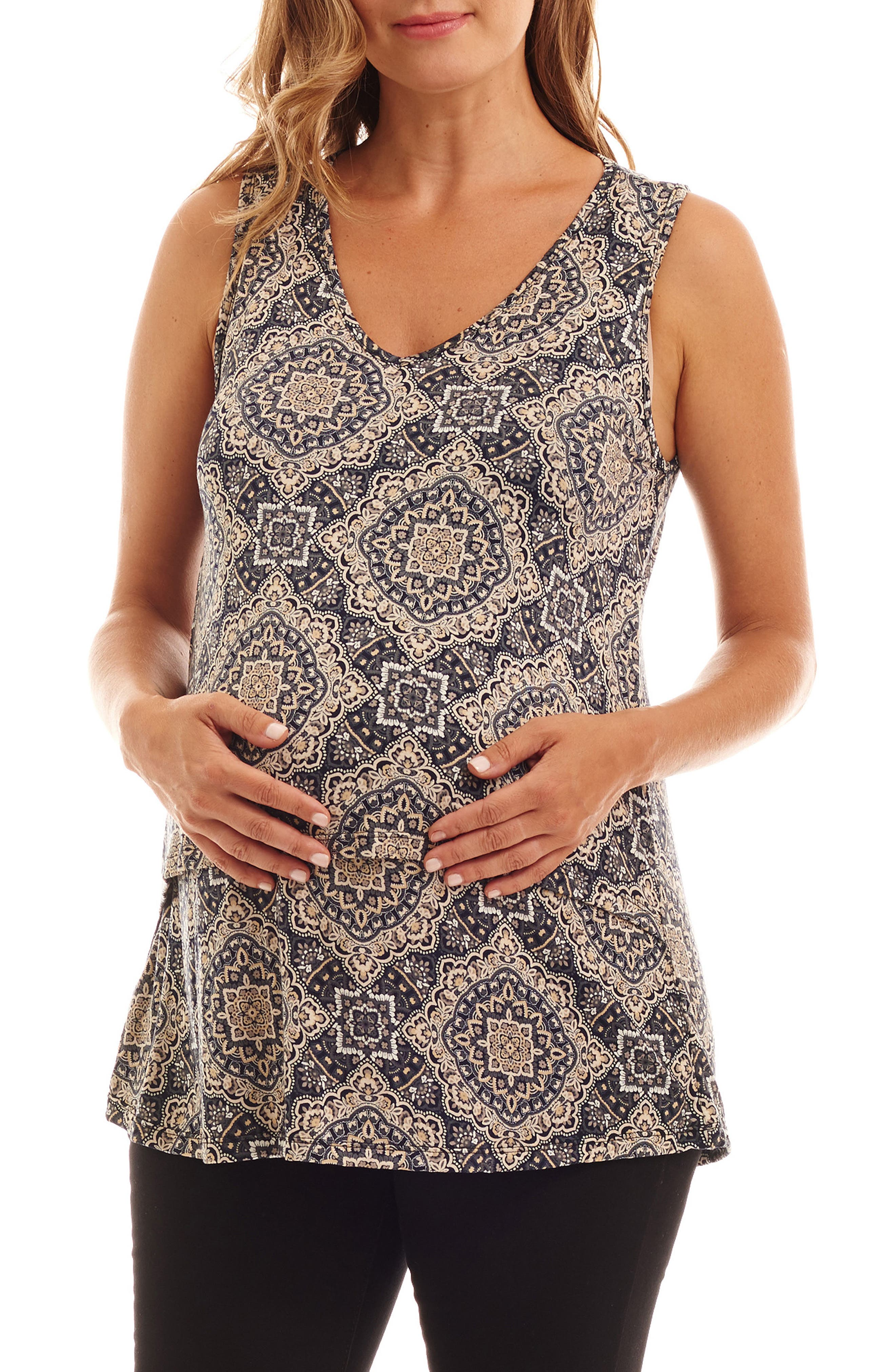 Val Tiered Maternity/Nursing Tank,                             Main thumbnail 1, color,                             Navy Batik