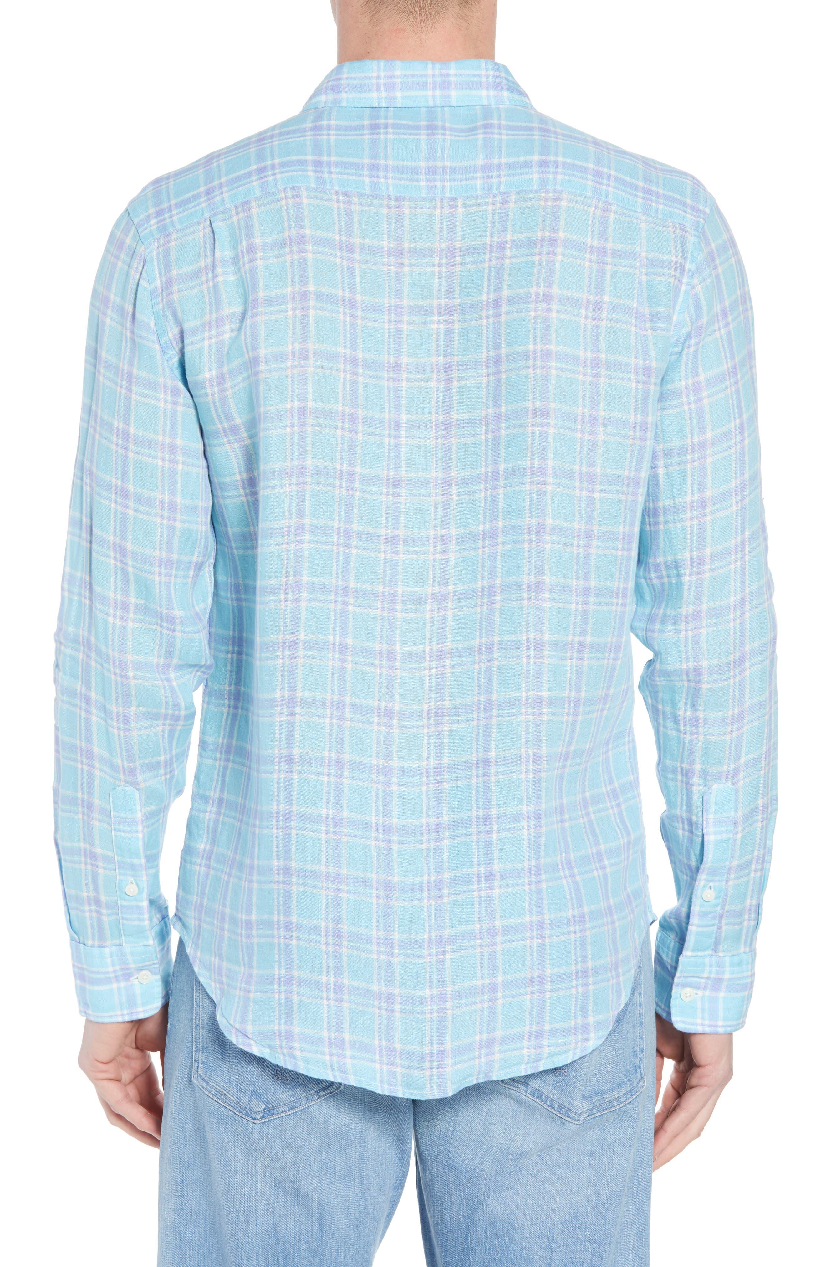Ventura Plaid Linen Sport Shirt,                             Alternate thumbnail 3, color,                             Teal Purple Plaid