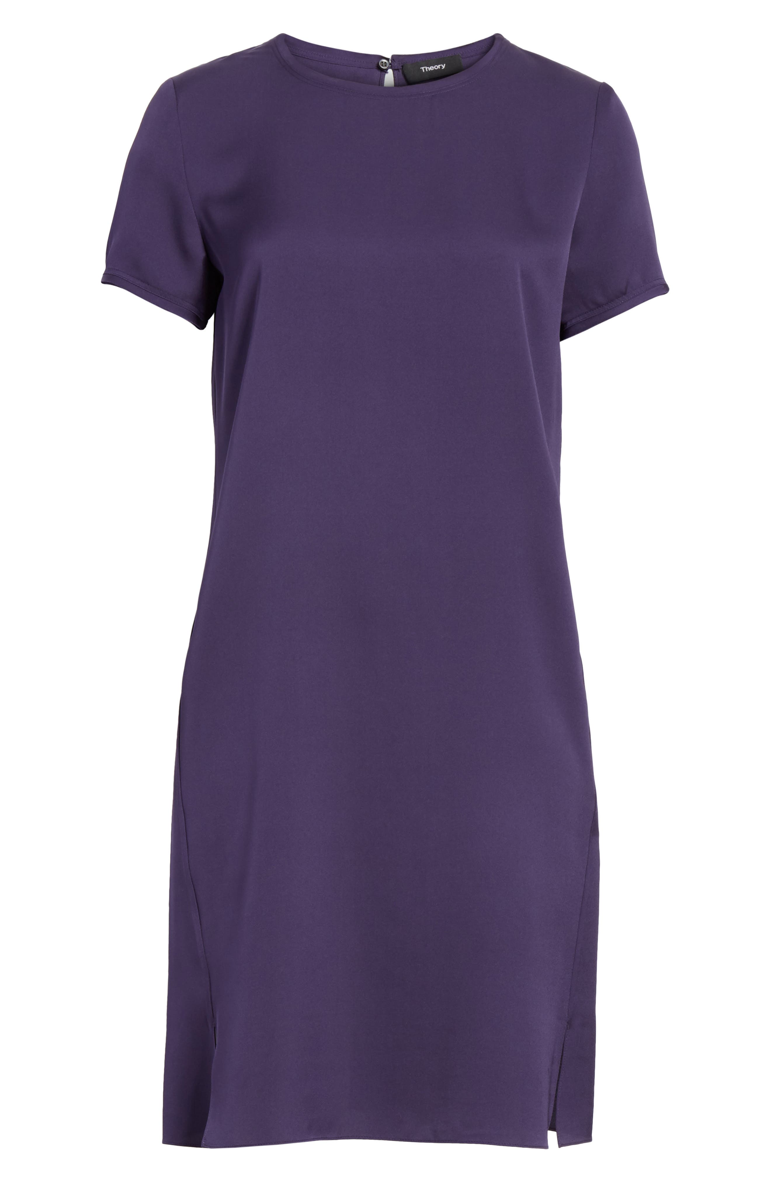 Modern Silk T-Shirt Dress,                             Alternate thumbnail 6, color,                             Plum Purple