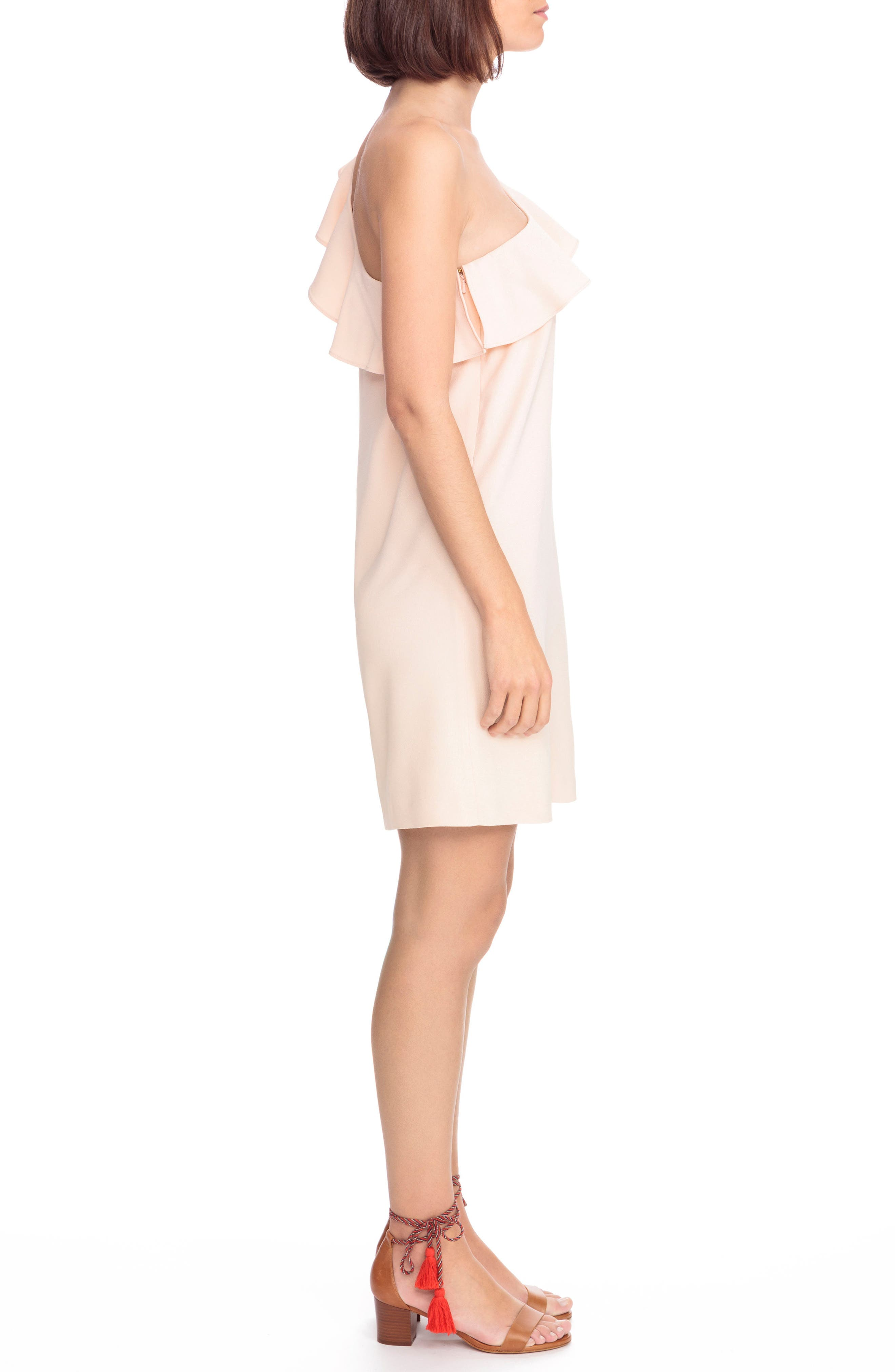 Louison Ruffle One-Shoulder Shift Dress,                             Alternate thumbnail 3, color,                             Nude