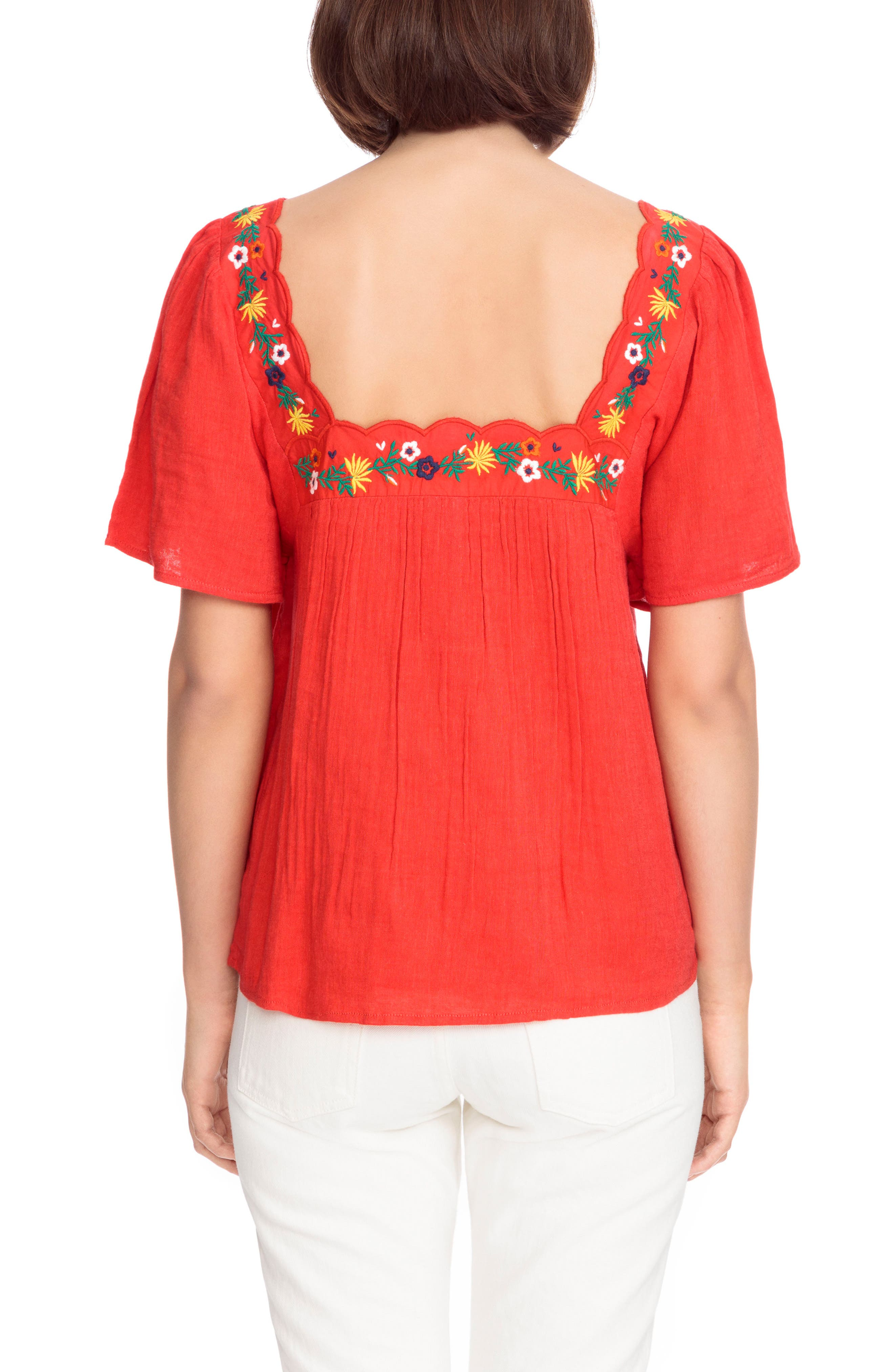 Bea Scalloped Top,                             Alternate thumbnail 3, color,                             Coral Red