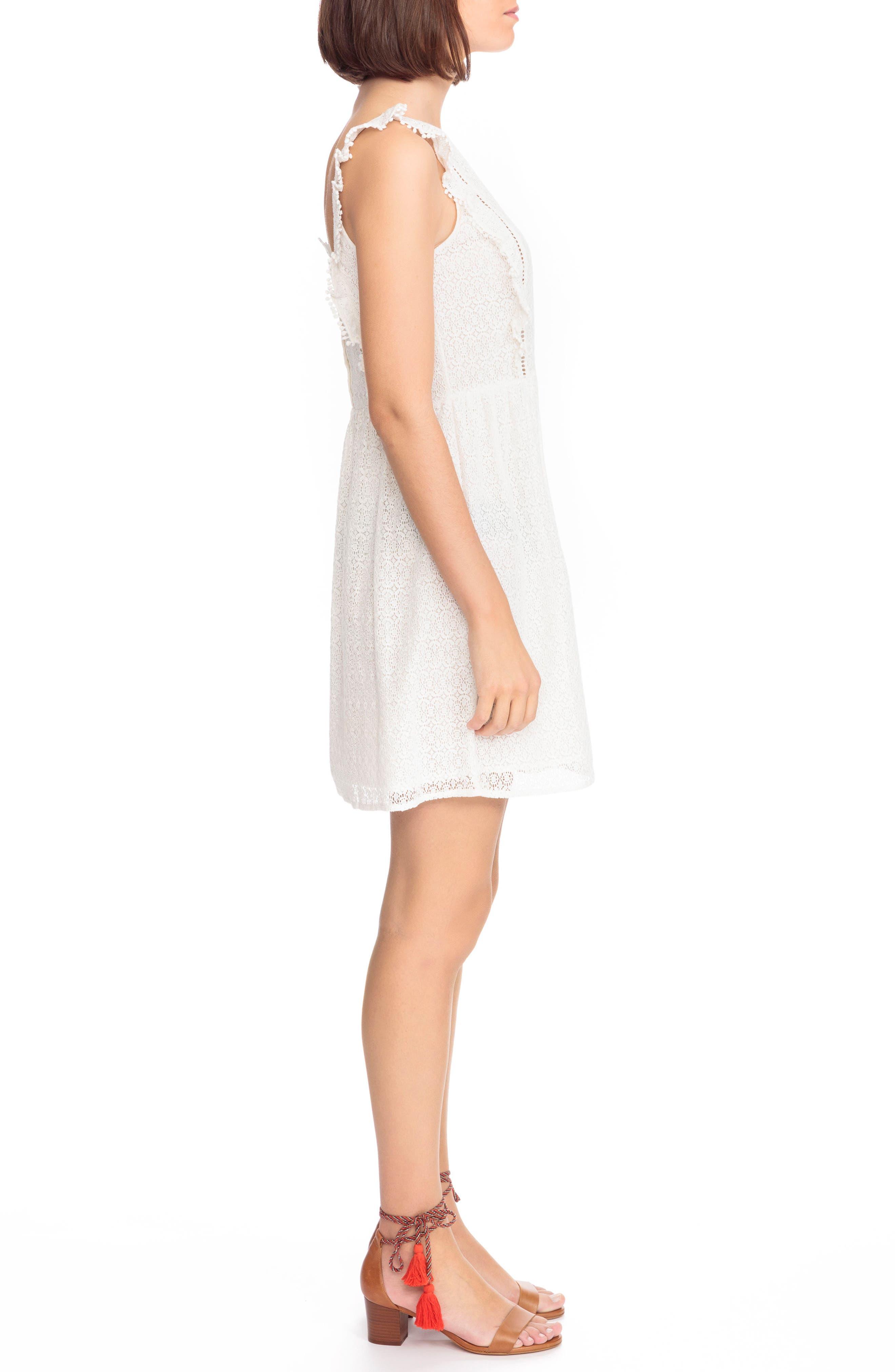 Calie Lace A-Line Dress,                             Alternate thumbnail 3, color,                             Off White