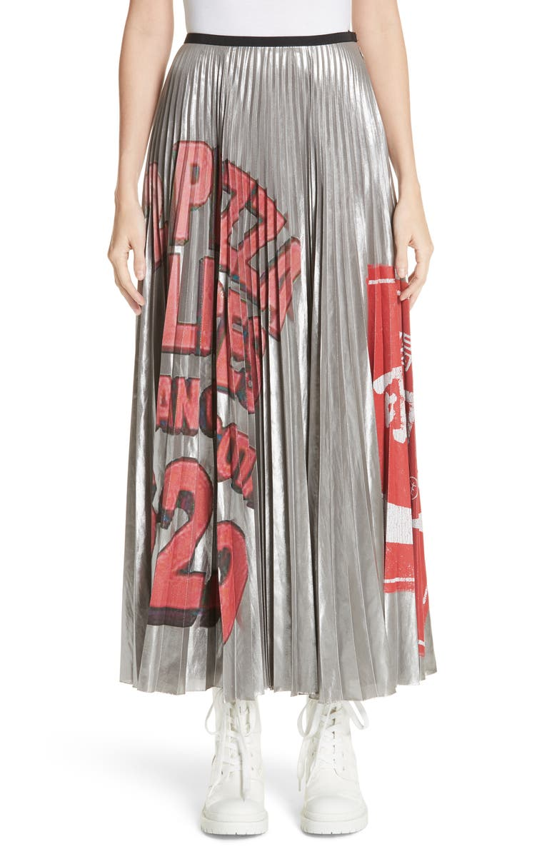 Pizza Print Pleated Skirt