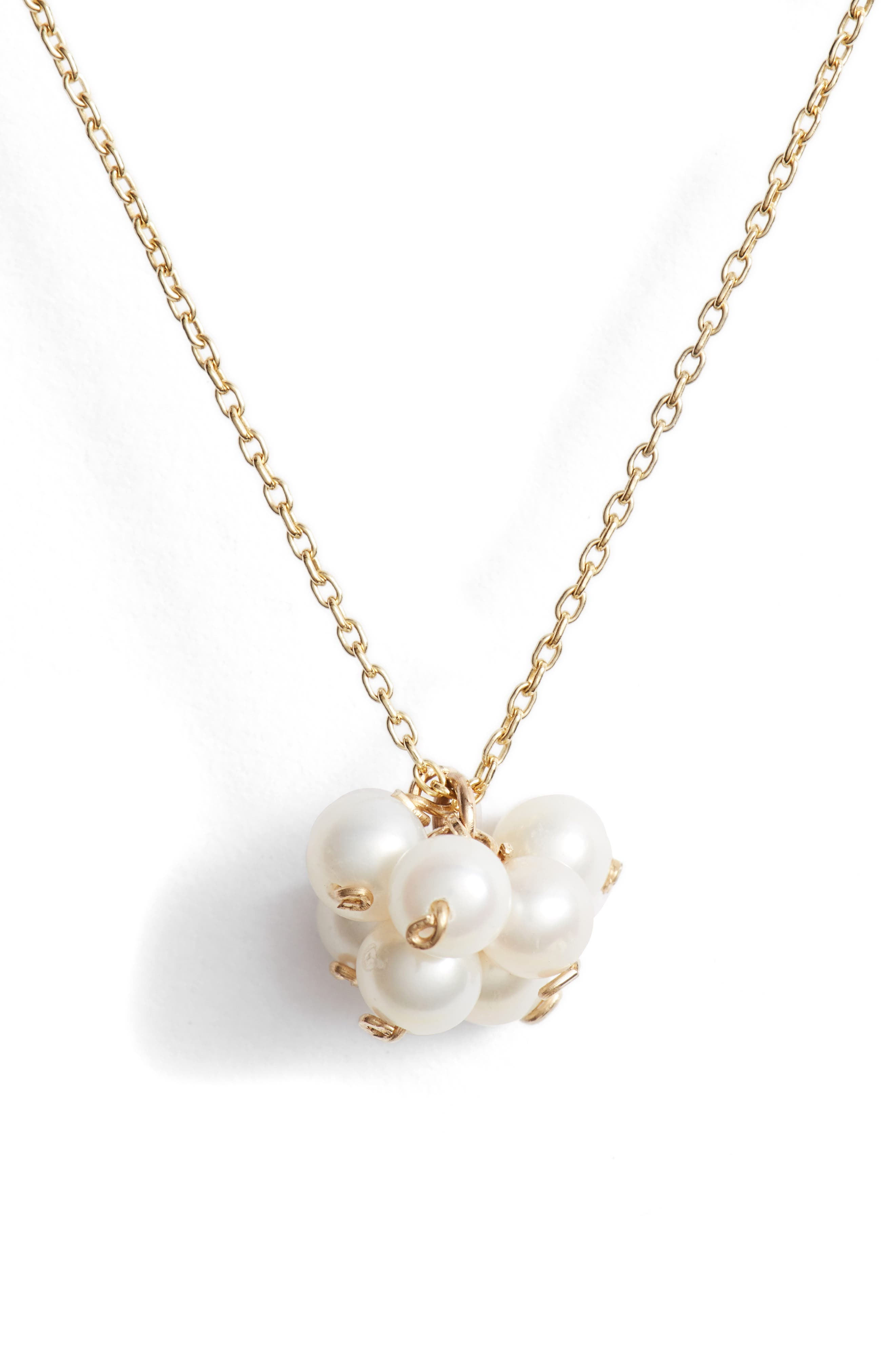Baby Pearl Cluster Pendant Necklace,                             Main thumbnail 1, color,                             Yellow Gold/ White Pearl