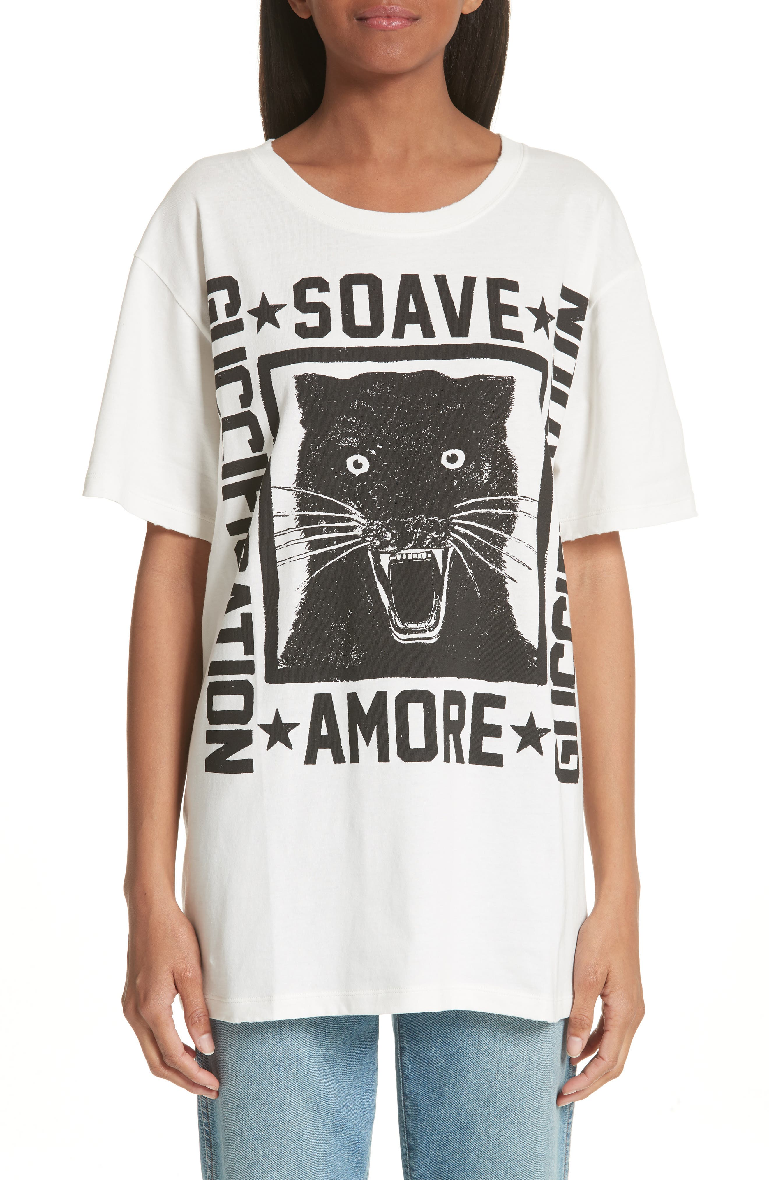 Amore Graphic Tee,                         Main,                         color, Ivory Black