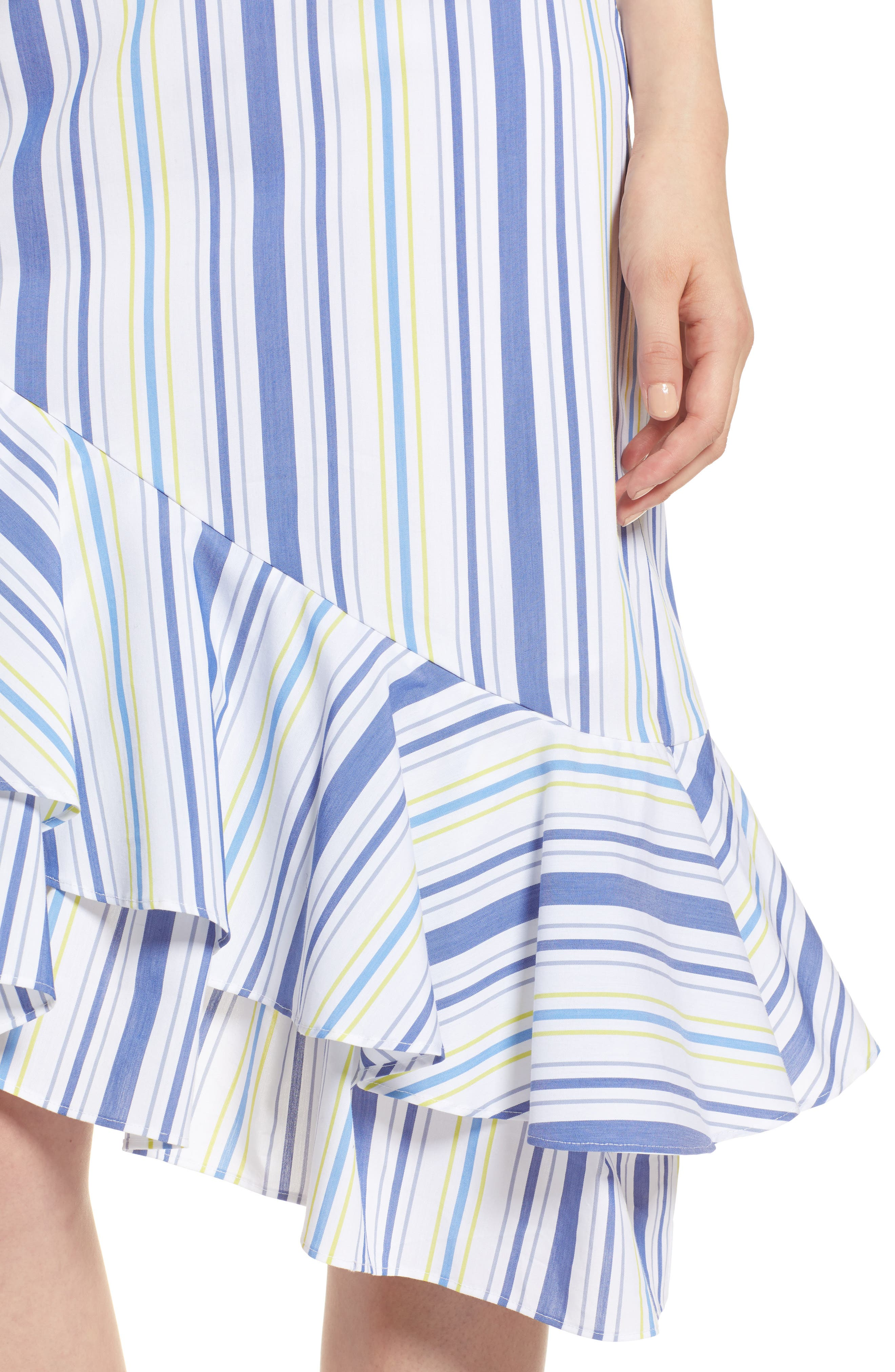 Alternate Image 4  - Halogen® Ruffle Hem Stripe Skirt (Regular & Petite)