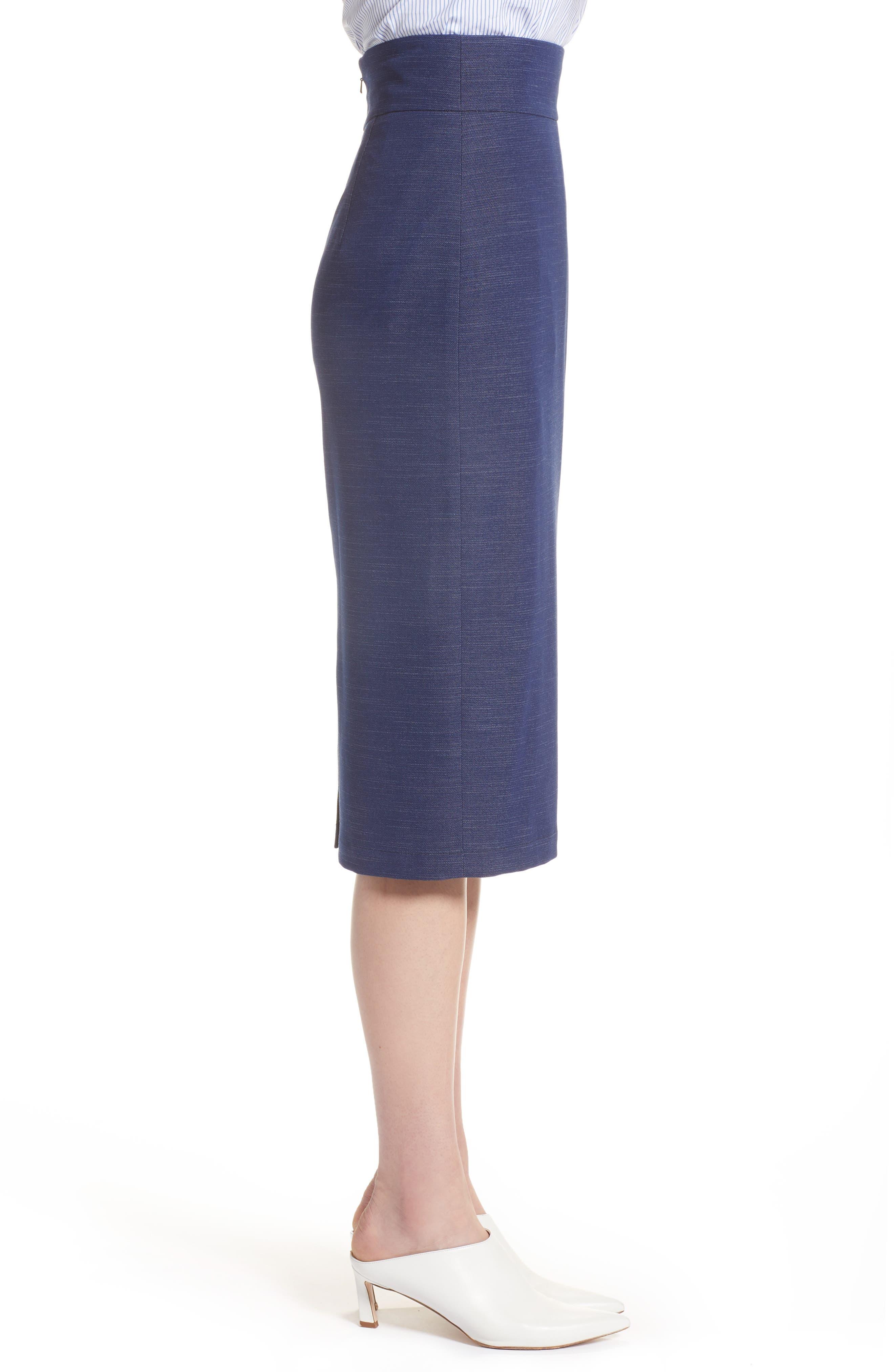 High Waist Chambray Skirt,                             Alternate thumbnail 3, color,                             Dark Chambray