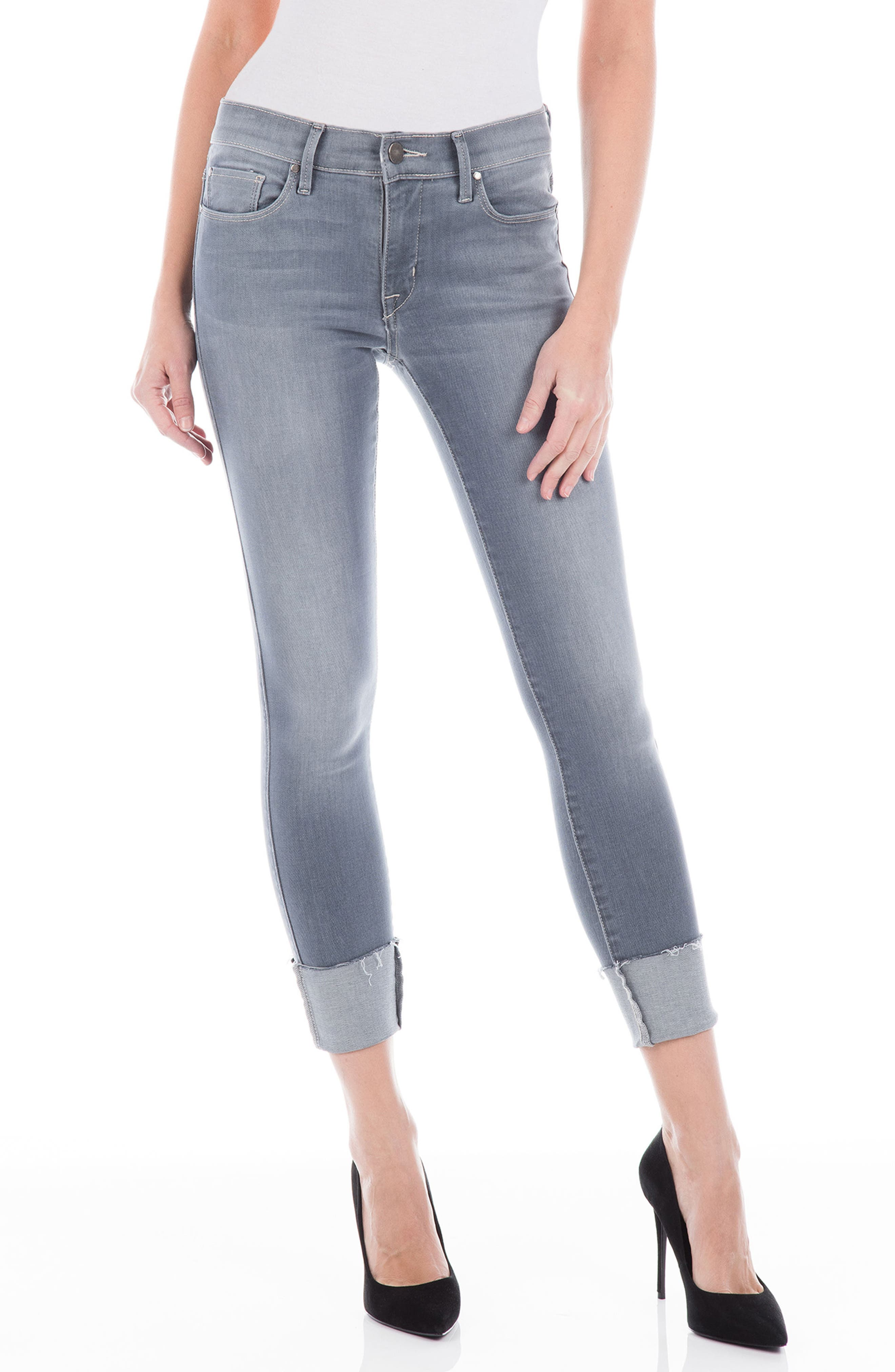 Belvedere Crop Skinny Jeans,                         Main,                         color, Chrome