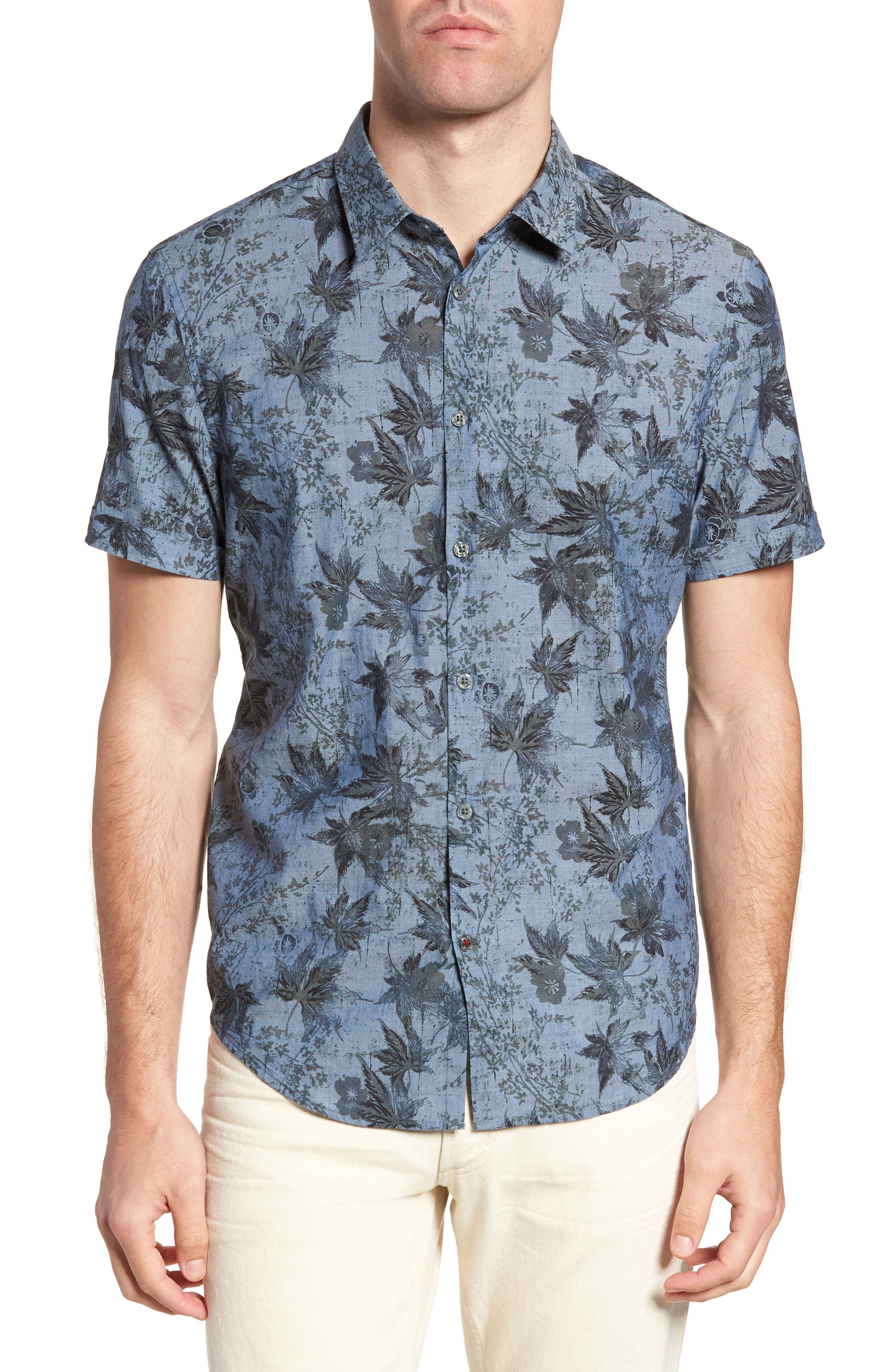 Regular Fit Print Short Sleeve Sport Shirt,                         Main,                         color, Indigo
