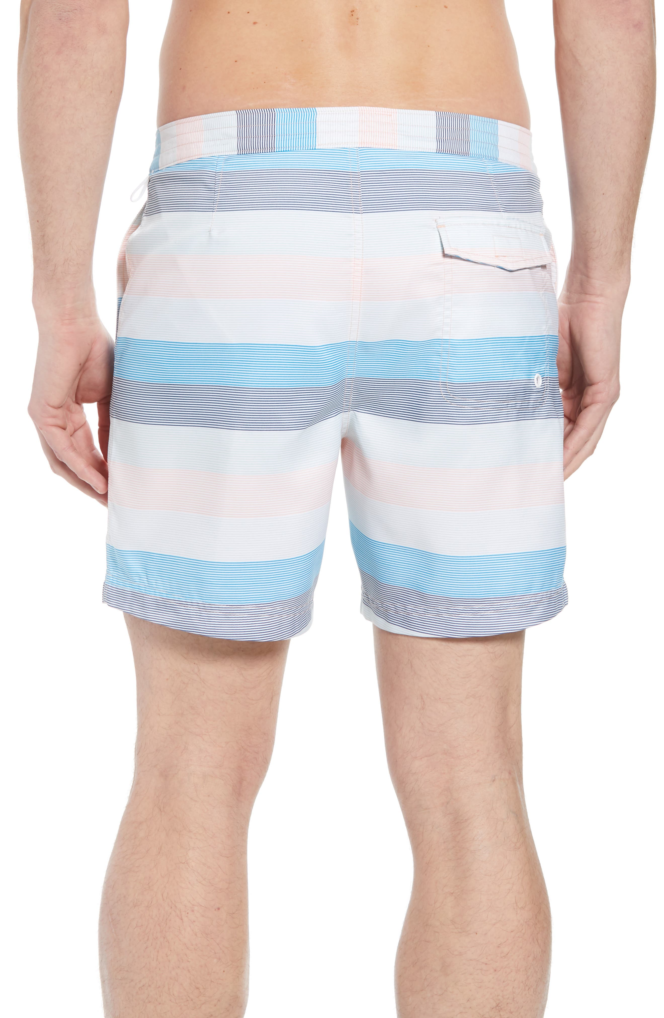 Stripe Volley Board Shorts,                             Alternate thumbnail 2, color,                             Impatiens Pink