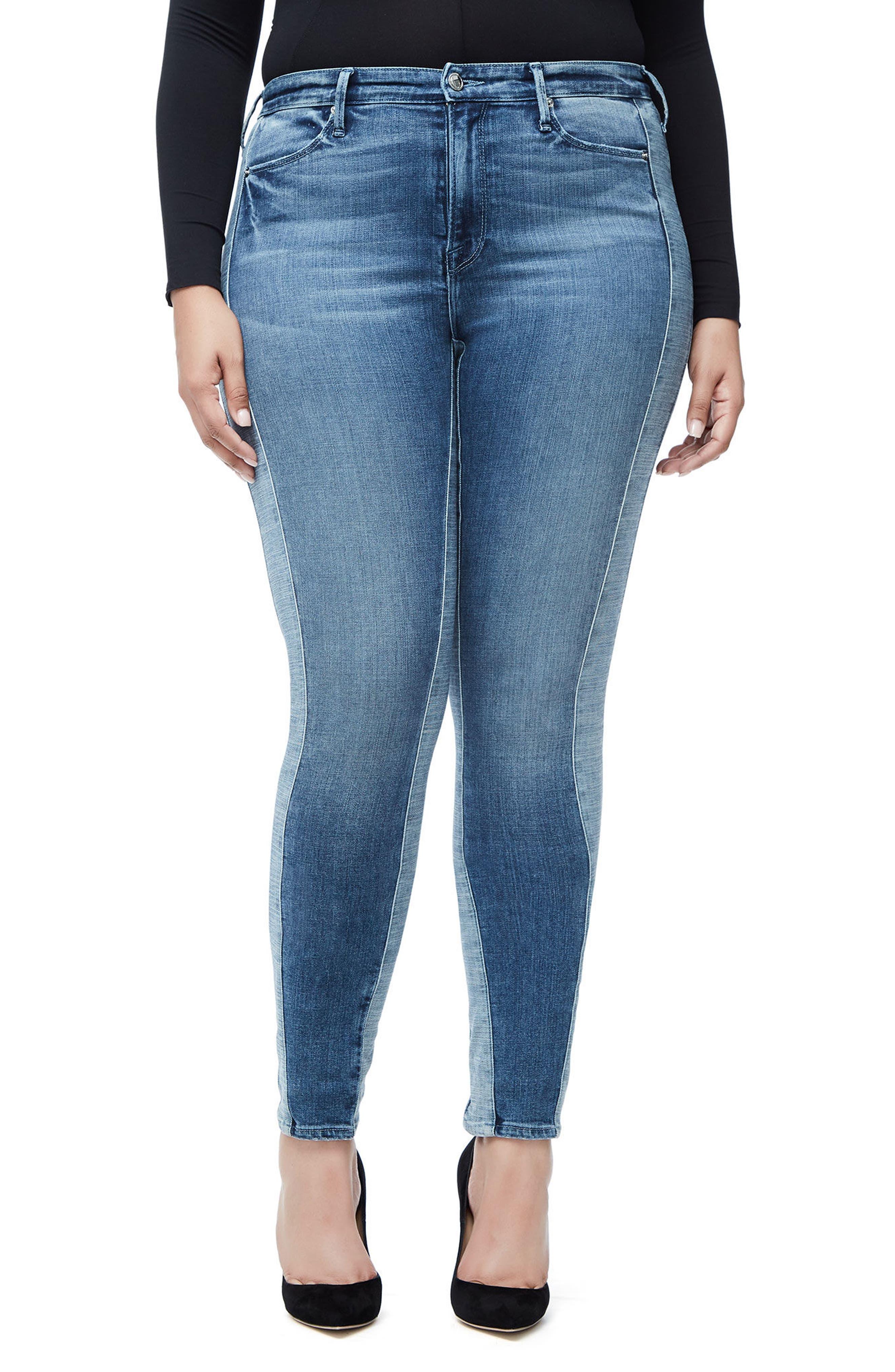 Good Waist Piecing High Waist Skinny Jeans,                             Alternate thumbnail 5, color,                             Blue128