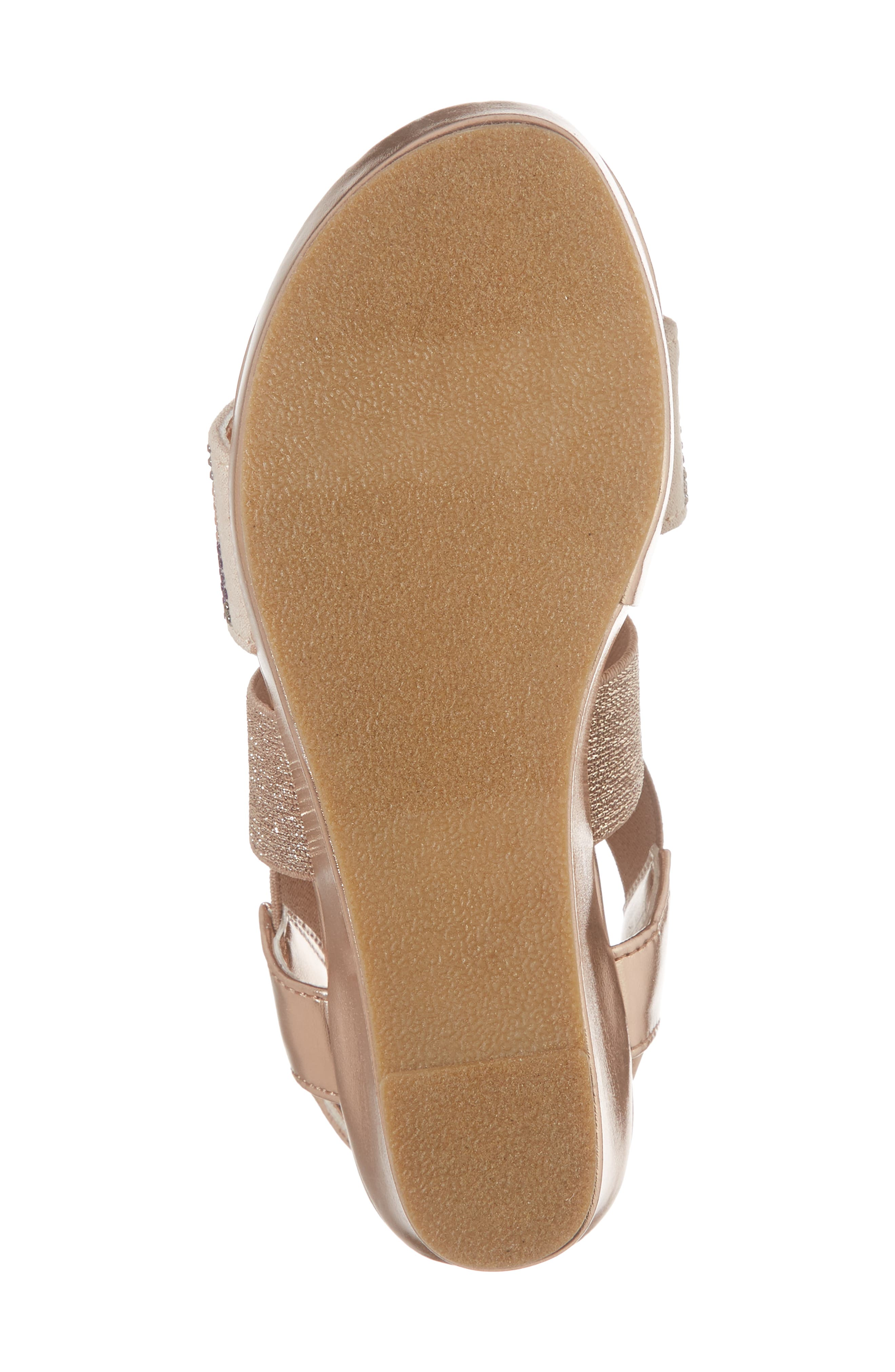 Reaction Kenneth Cole Reed Mamba Embellished Wedge Sandal,                             Alternate thumbnail 6, color,                             Rose Metallic