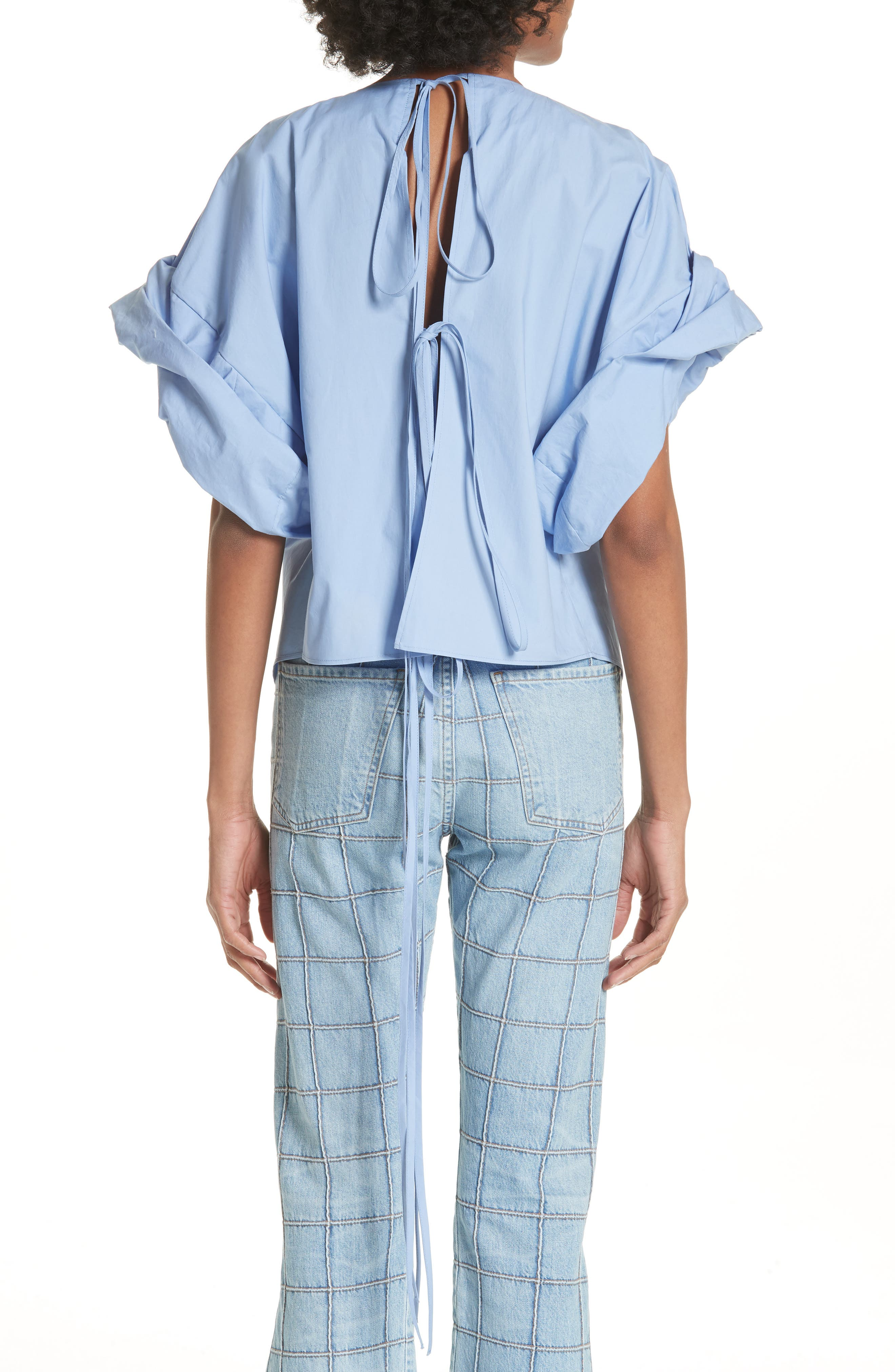 Wide Sleeve Top,                             Alternate thumbnail 2, color,                             Blue