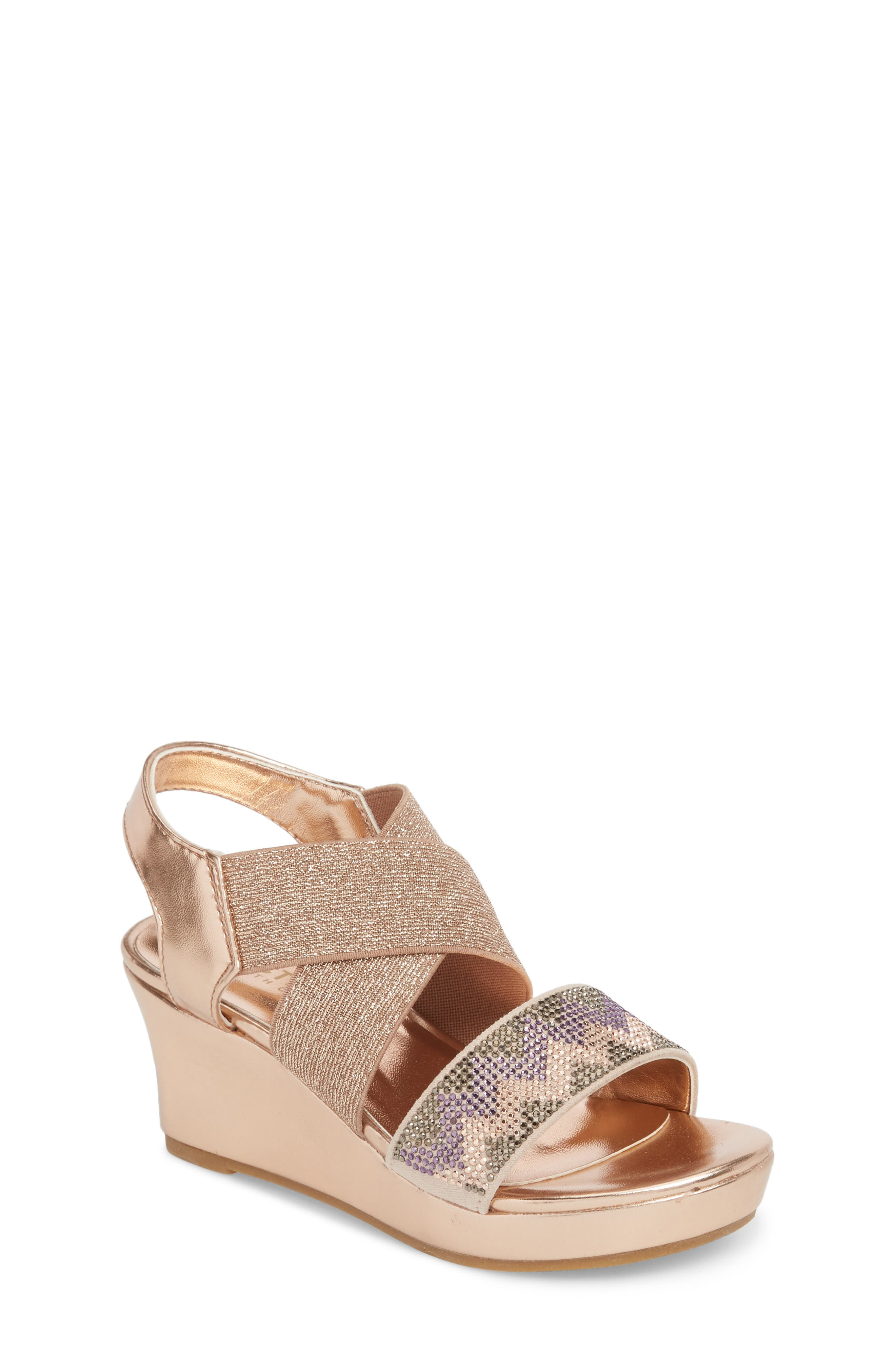 Reaction Kenneth Cole Reed Mamba Embellished Wedge Sandal,                             Main thumbnail 1, color,                             Rose Metallic