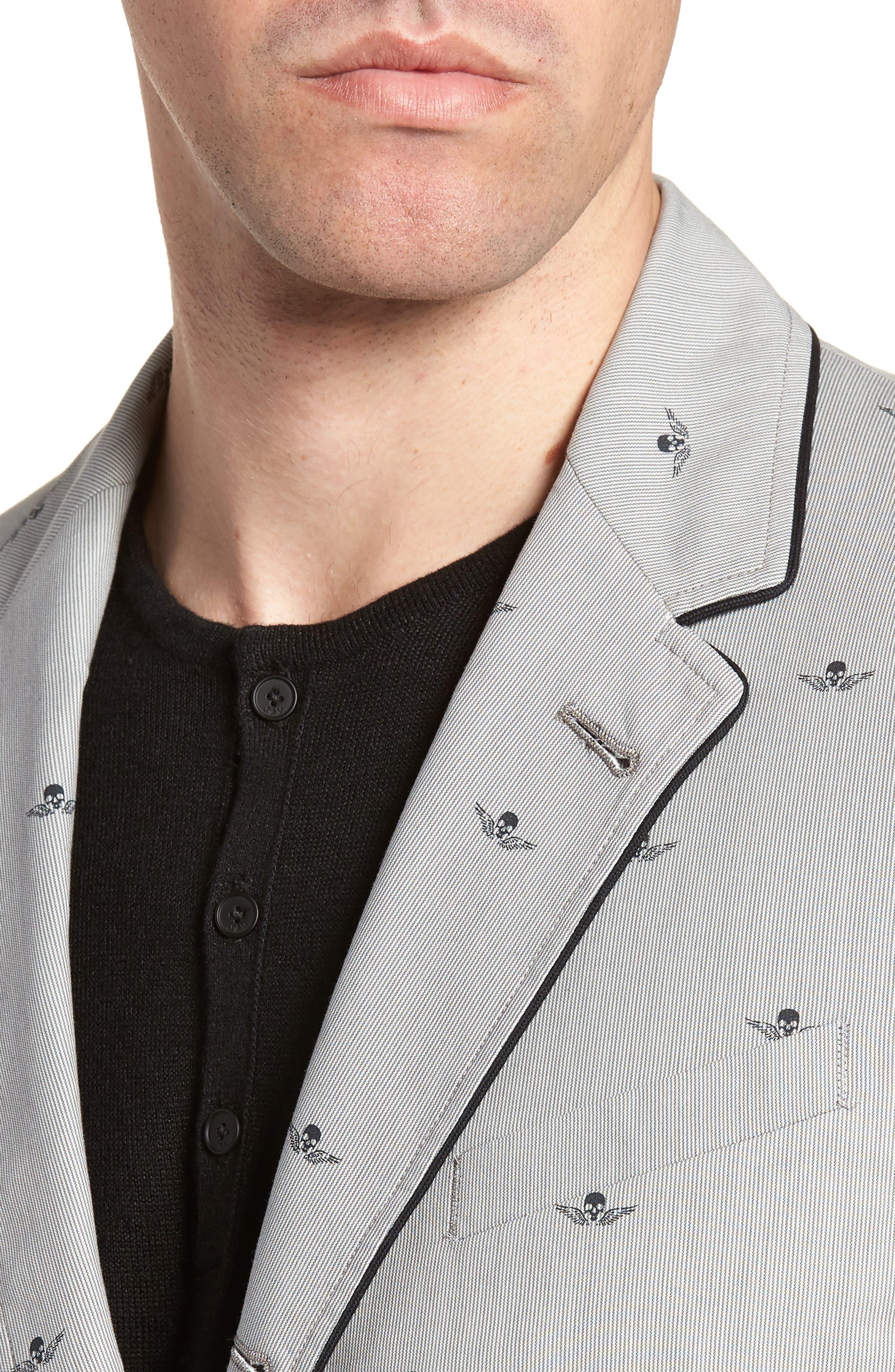 Slim Fit Print Cotton Blazer,                             Alternate thumbnail 4, color,                             Mercury Grey