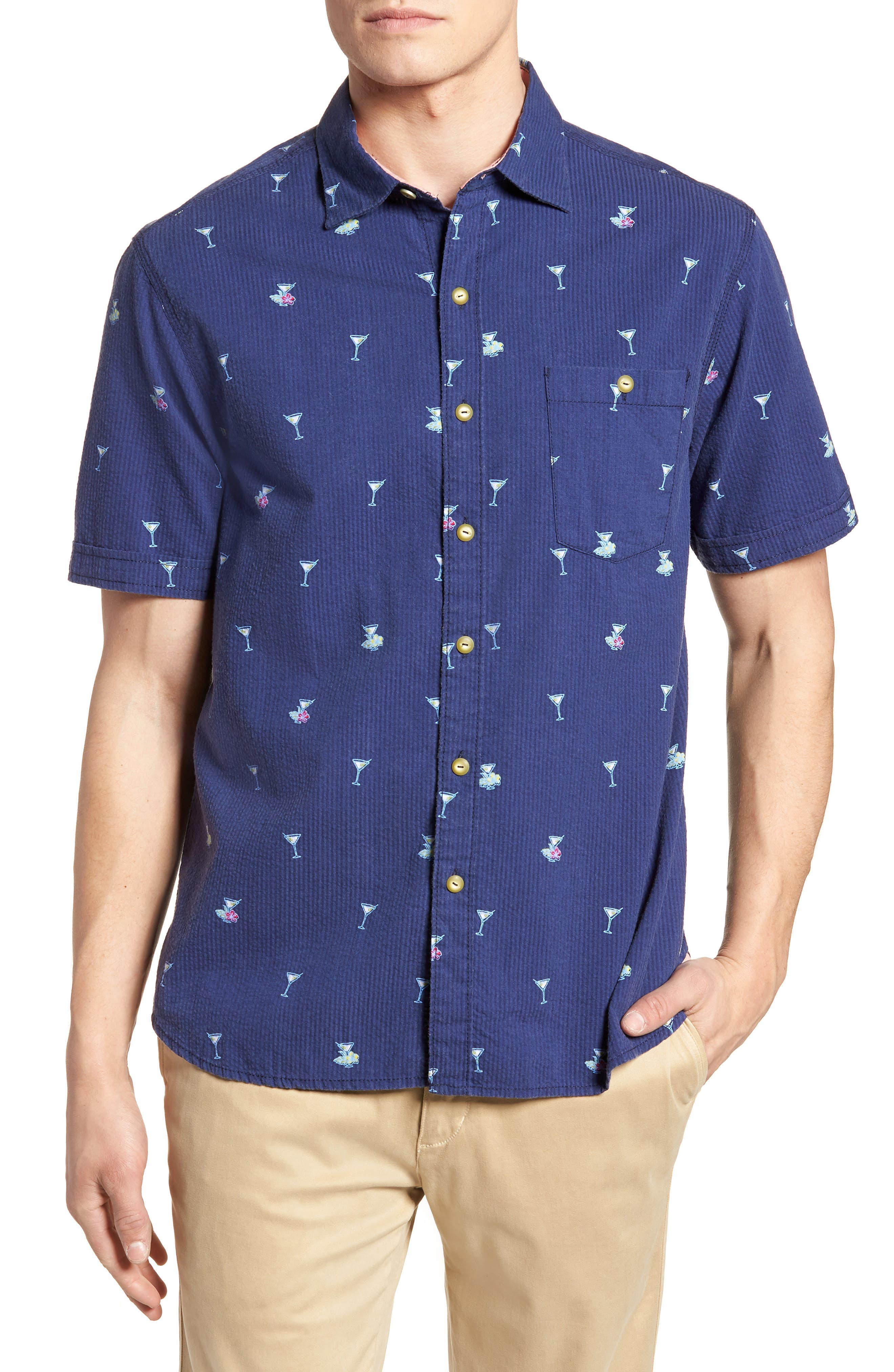 Mix Master Seersucker Shirt,                         Main,                         color, Ocean Deep