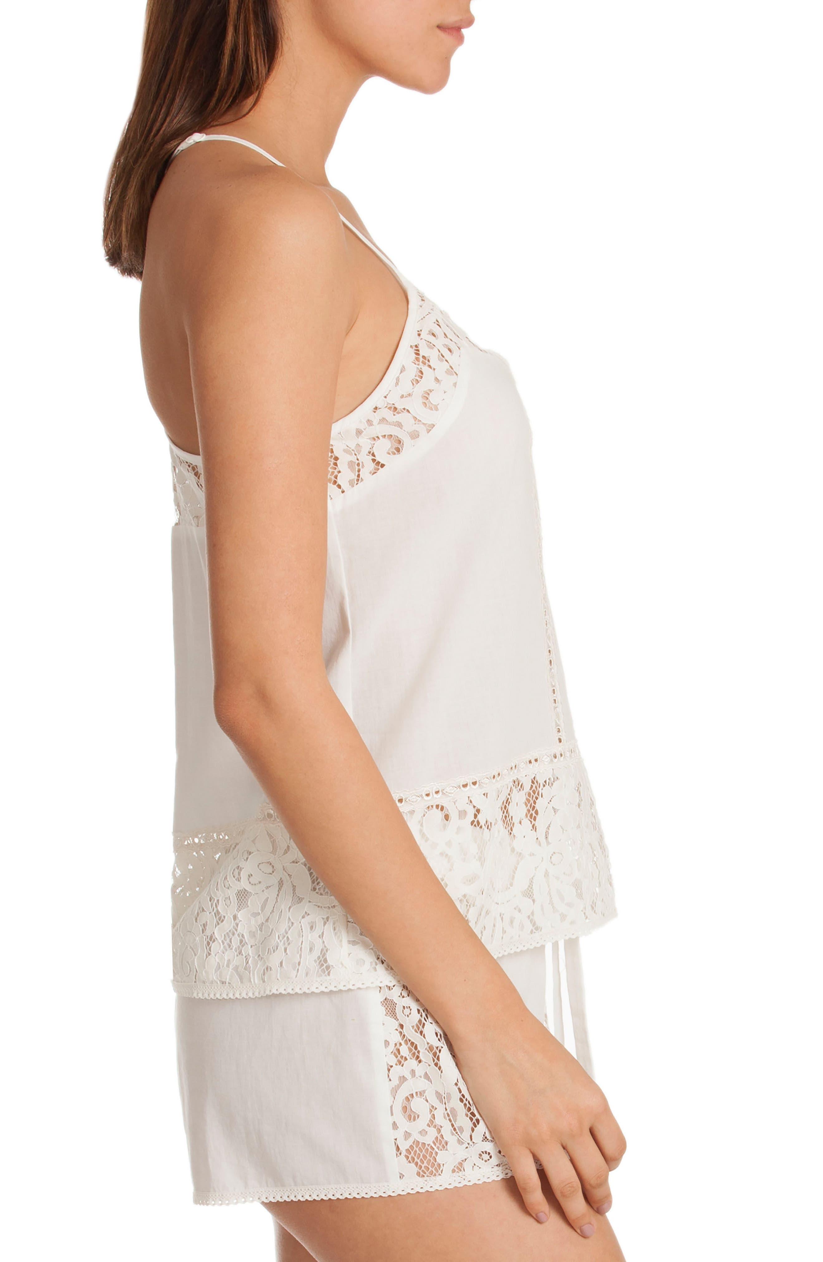 Eyelet Cotton Short Pajamas,                             Alternate thumbnail 3, color,                             Ivory/ Beige