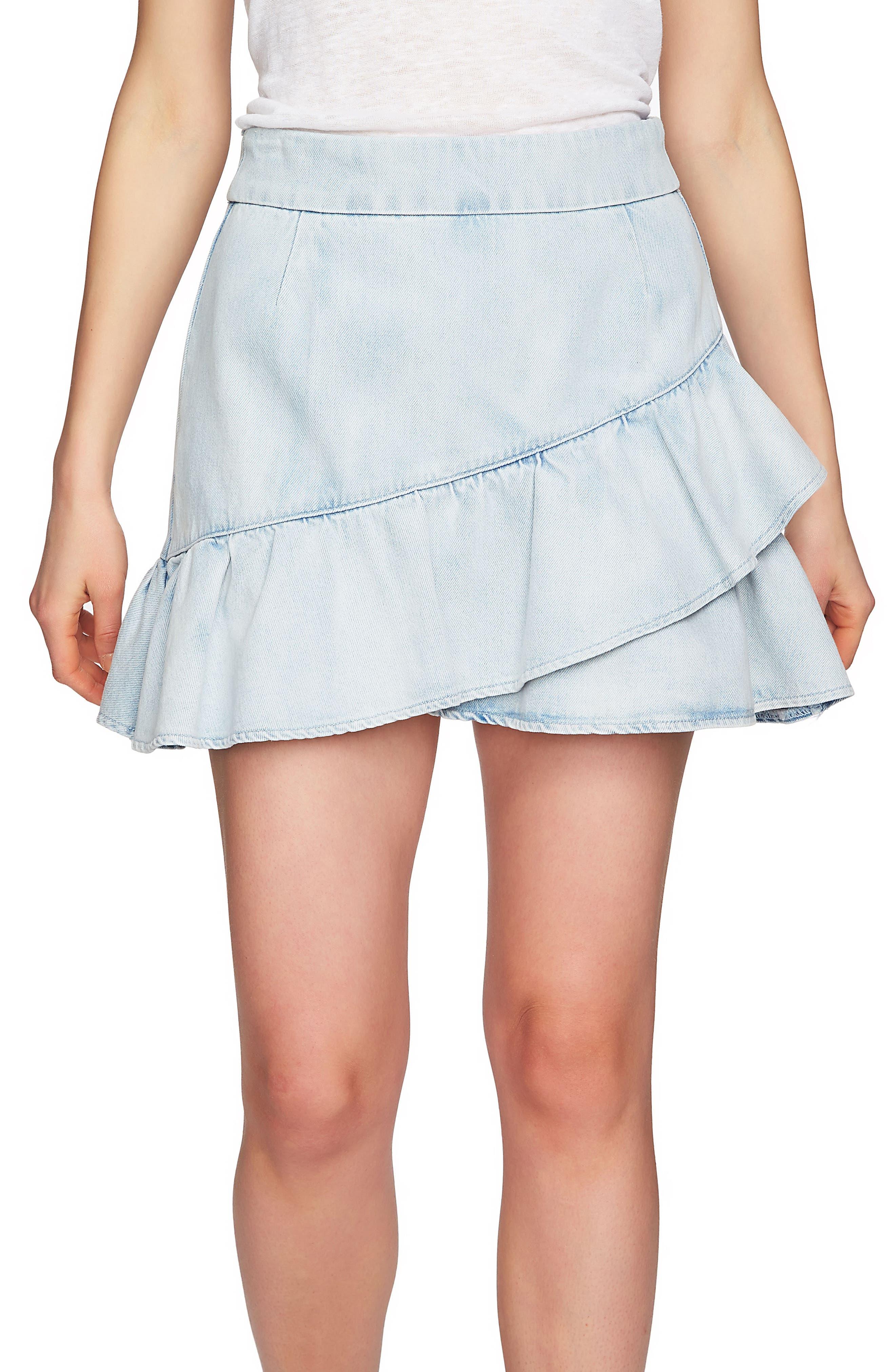 1.STATE Ruffle Denim Miniskirt