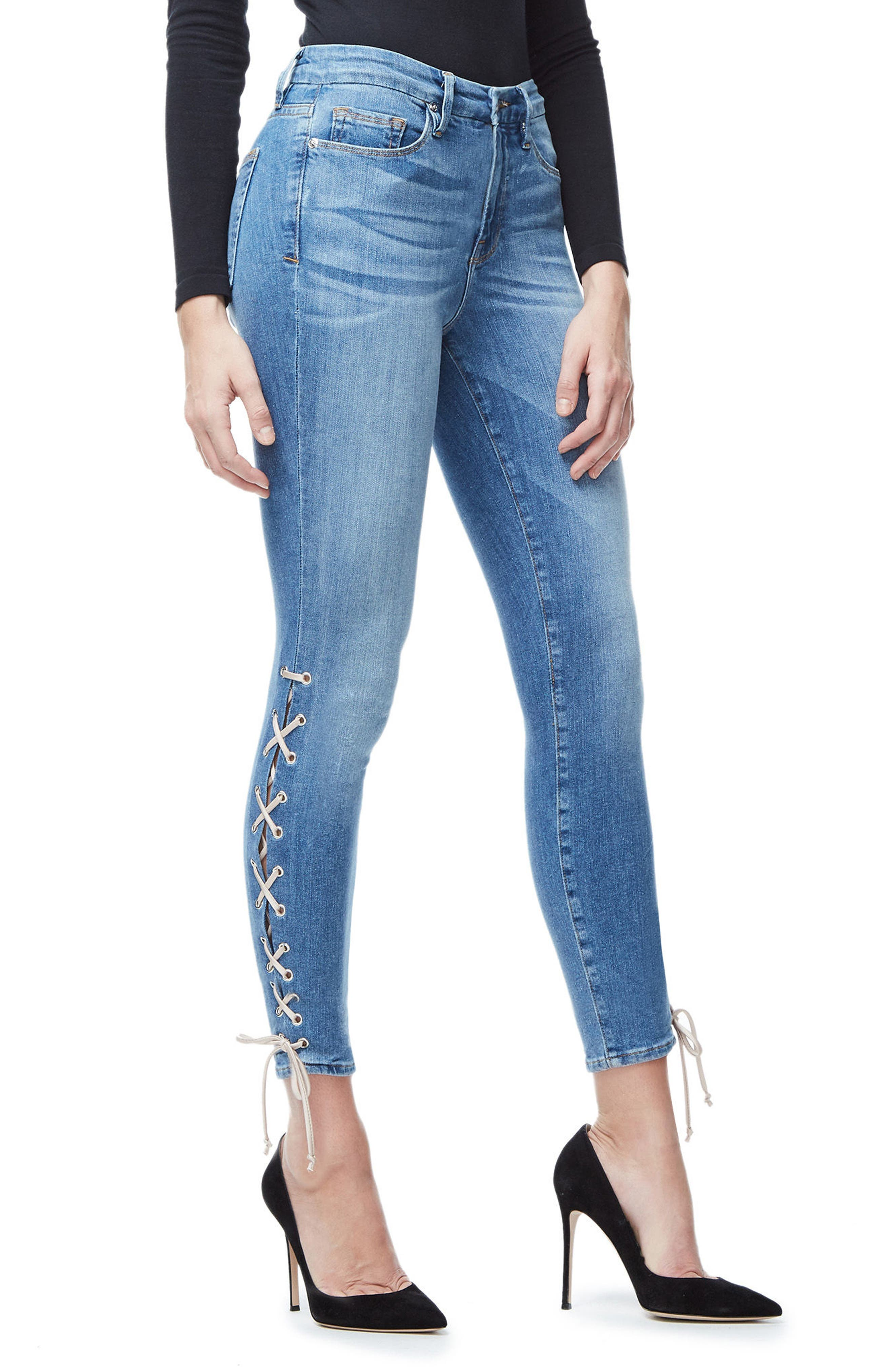 Good Legs Lace-Up High Waist Skinny Jeans,                             Alternate thumbnail 3, color,                             Blue045