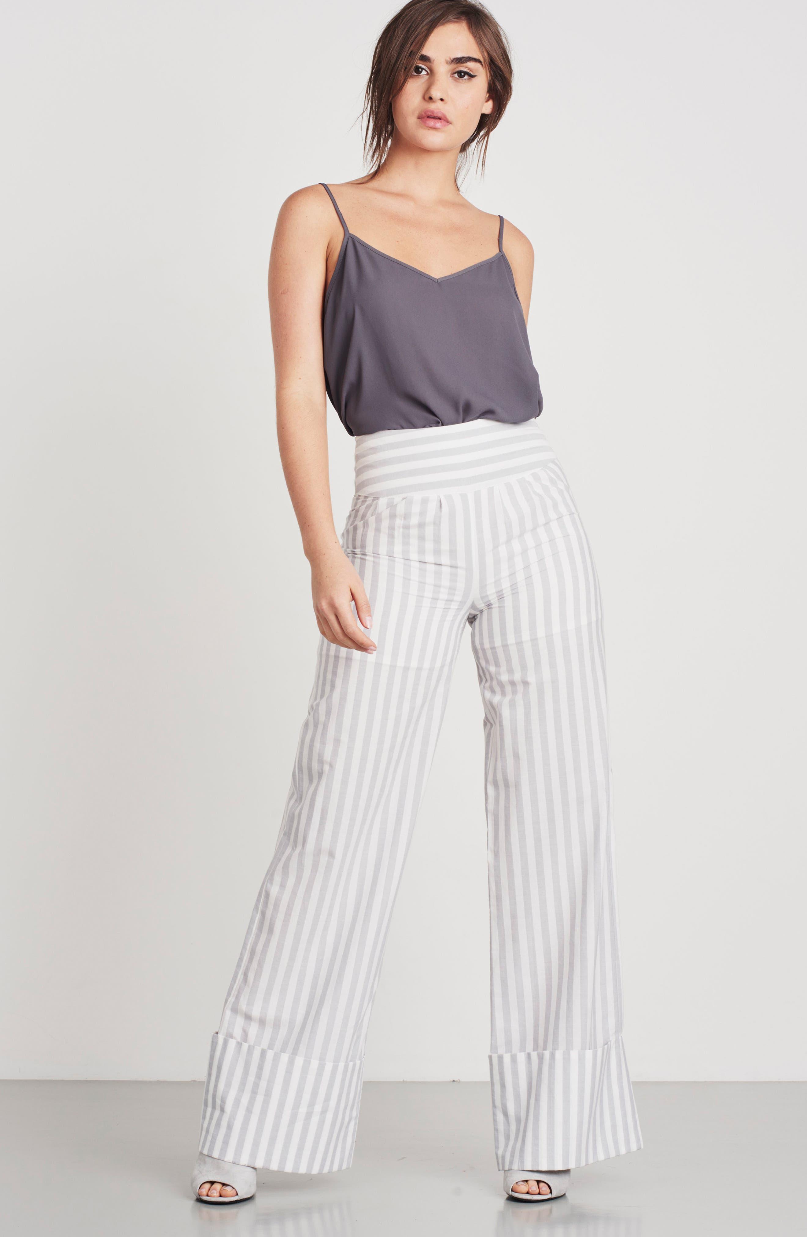 Wide Turn Up Stripe Trouser,                             Alternate thumbnail 2, color,                             Light Grey