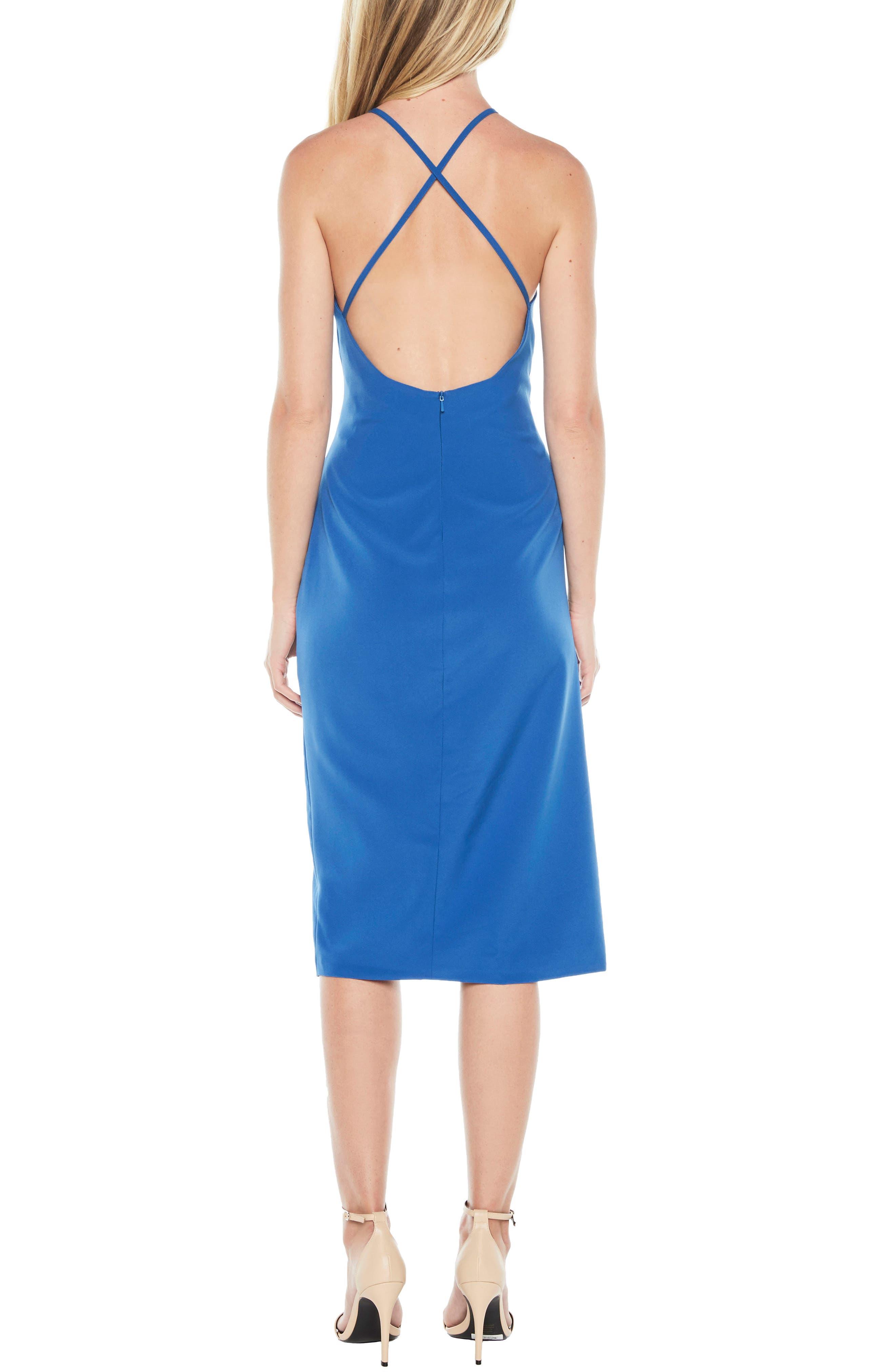 Vera Open Back Halter Dress,                             Alternate thumbnail 3, color,                             Sea Blue