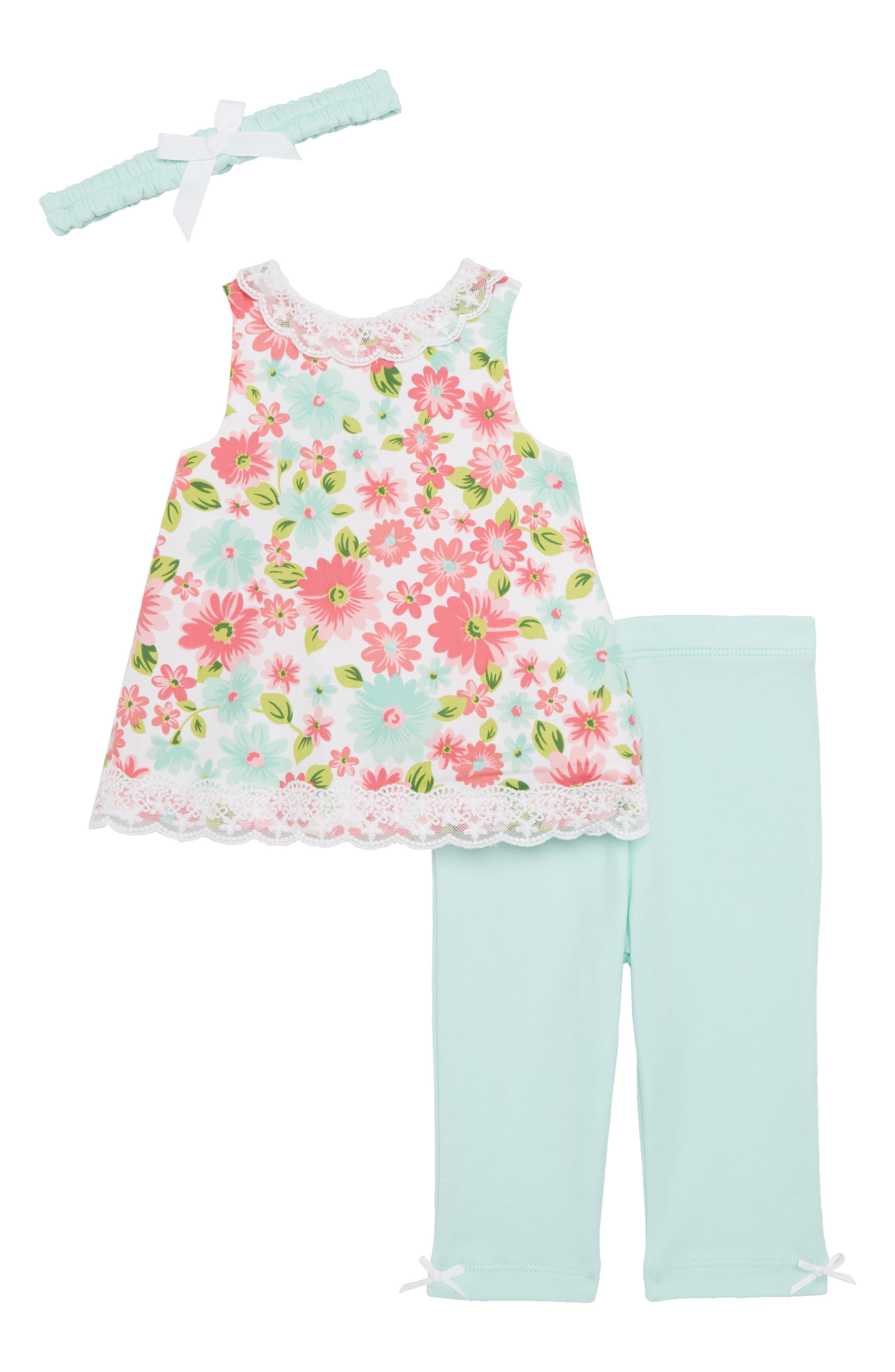 Daisy Tunic, Leggings & Headband Set,                             Main thumbnail 1, color,                             Floral
