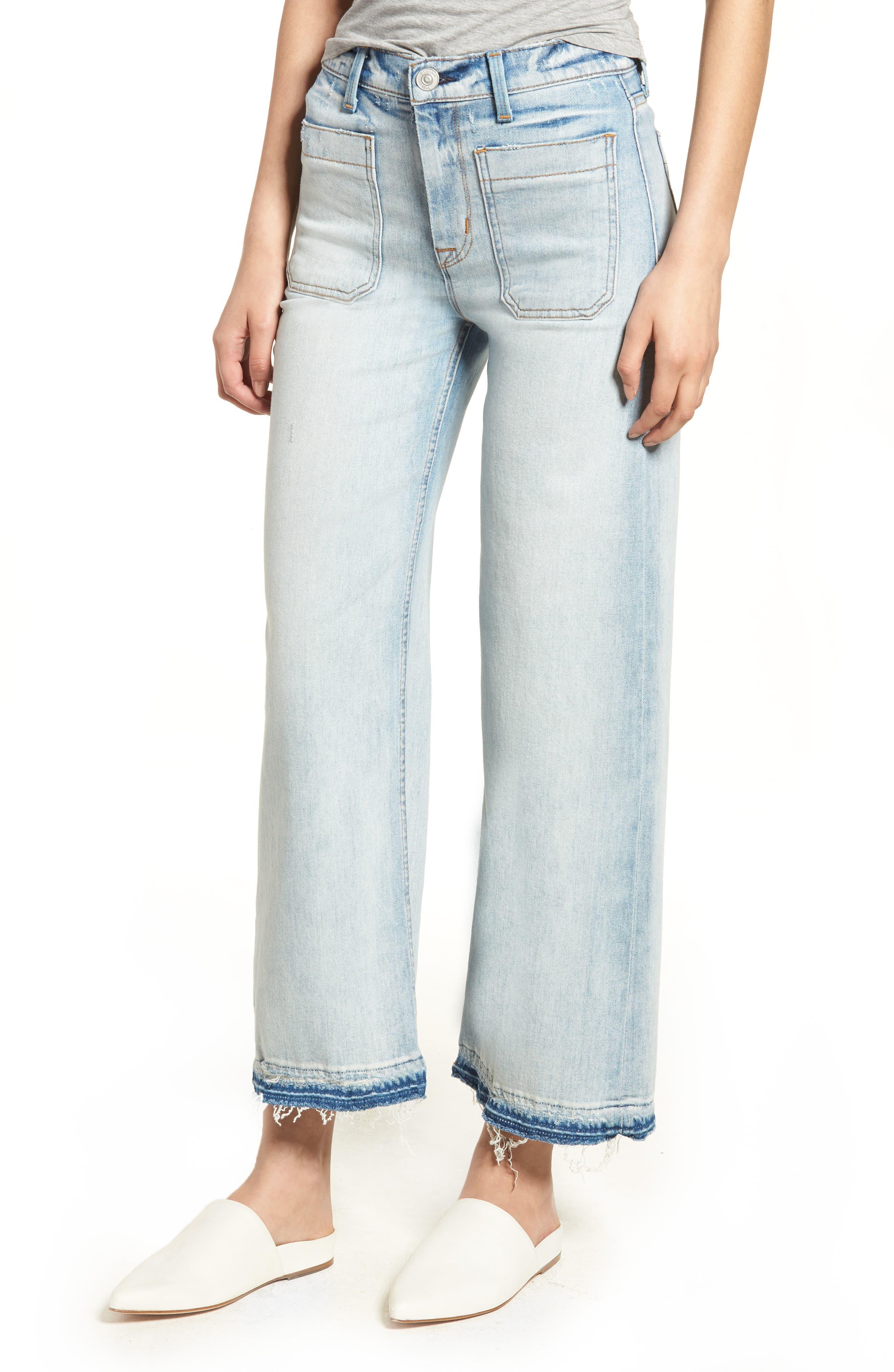 Holly High Waist Released Hem Crop Wide Leg Jeans,                         Main,                         color, Frame Of Mind