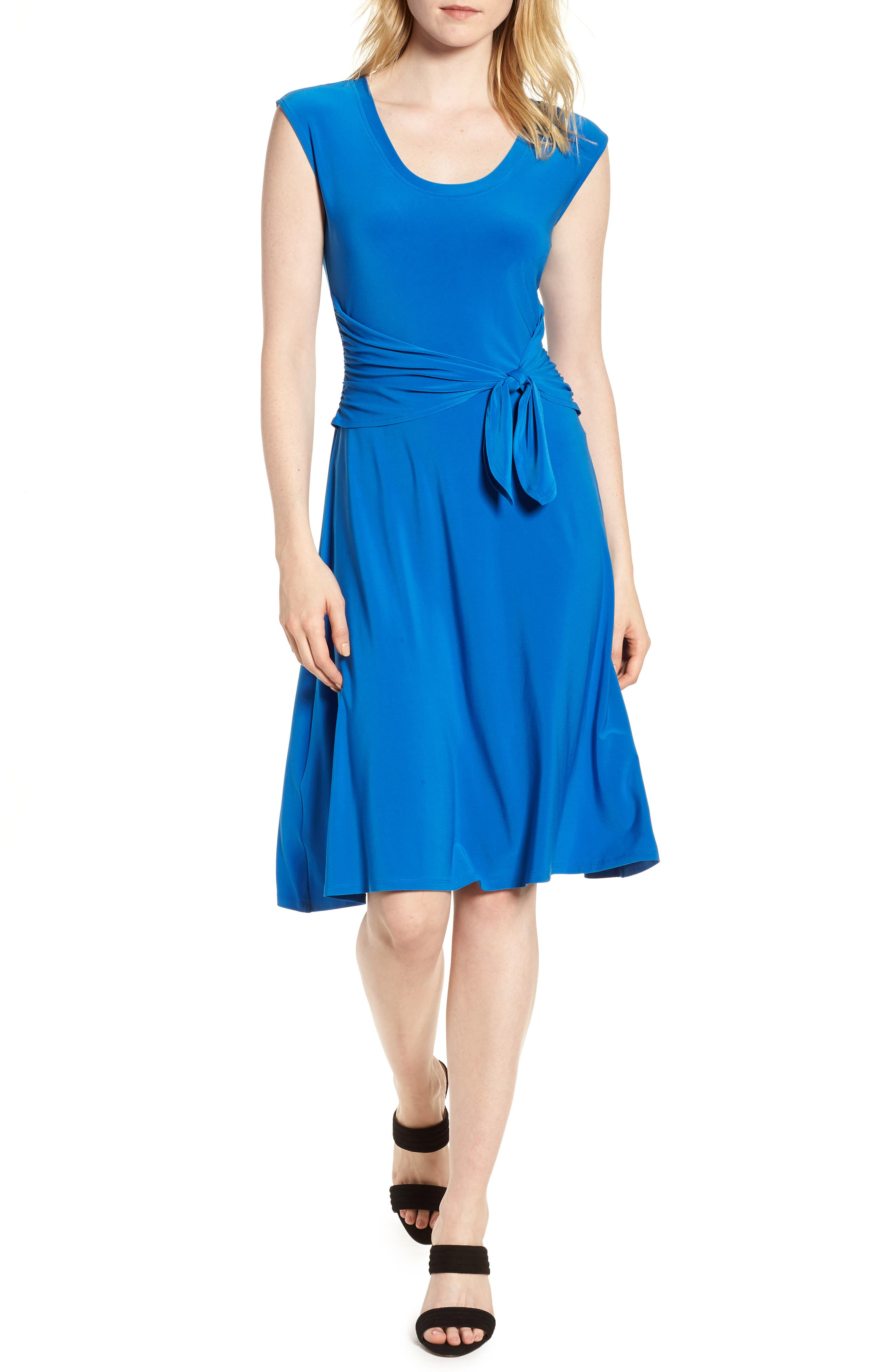 Tie Front Stretch Jersey Dress,                             Main thumbnail 1, color,                             Stone