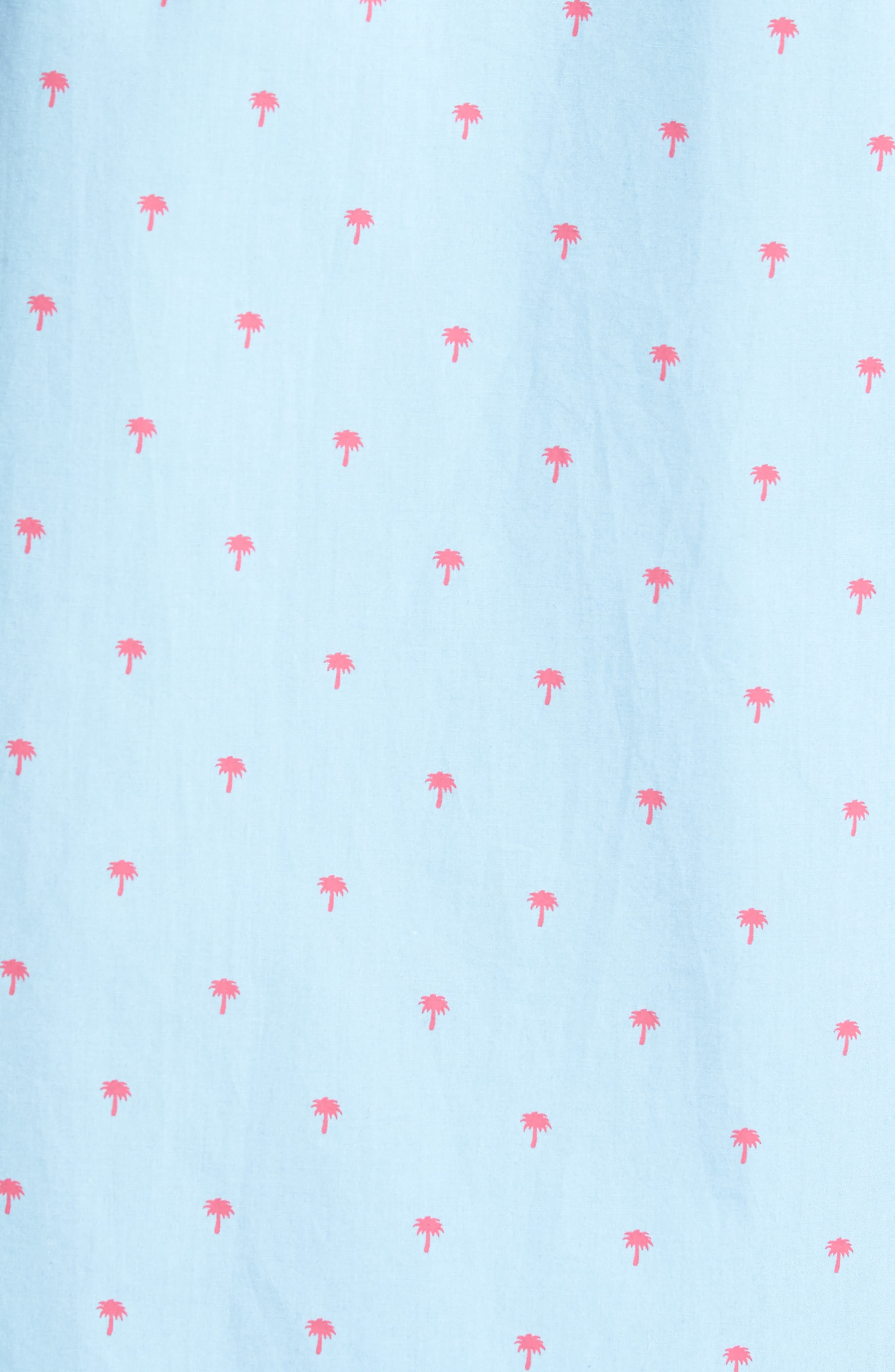 Slim Fit Palm Print Sport Shirt,                             Alternate thumbnail 5, color,                             Light Blue