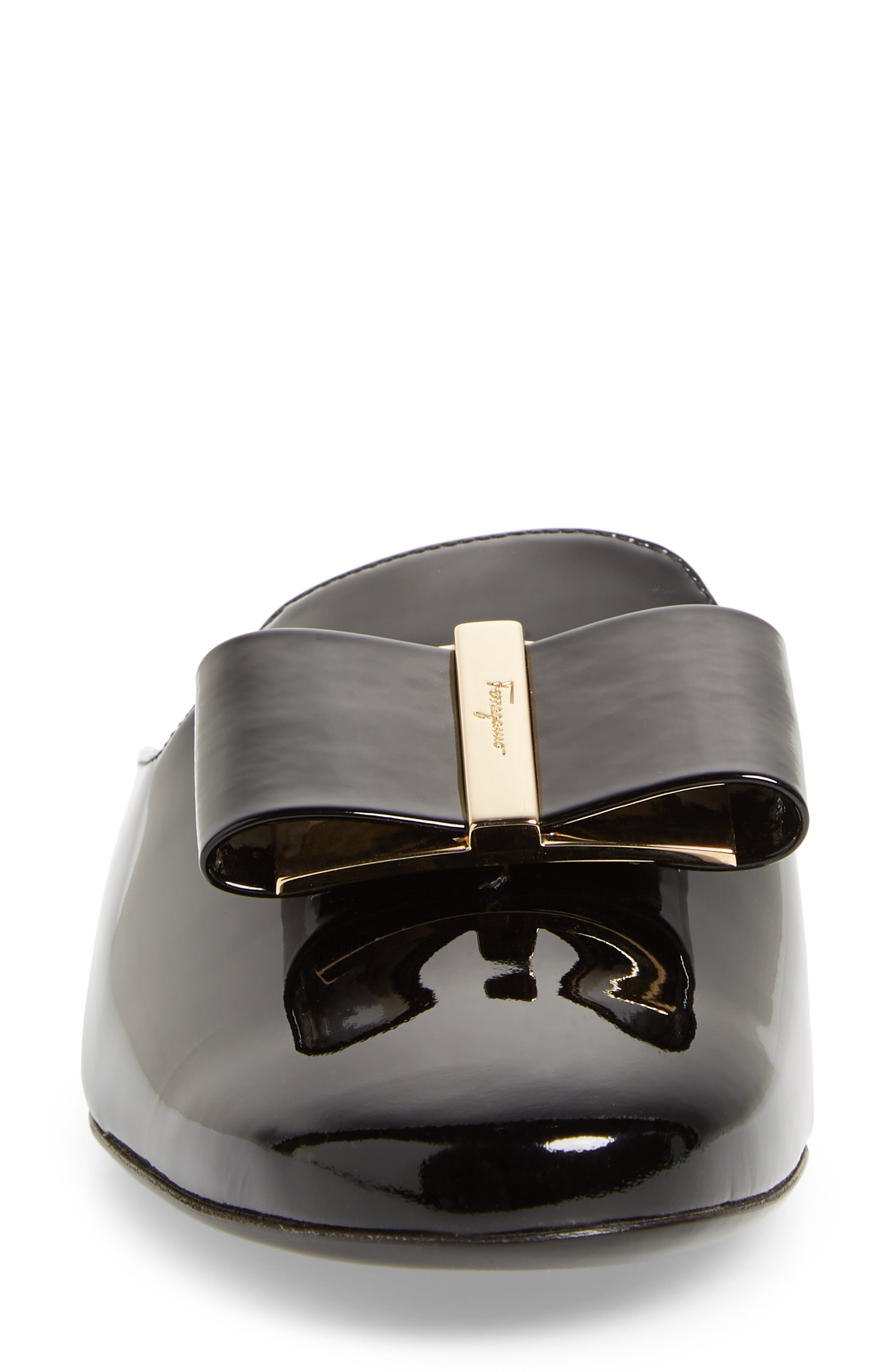 Sciacca Bow Loafer Mule,                             Alternate thumbnail 4, color,                             Black Patent